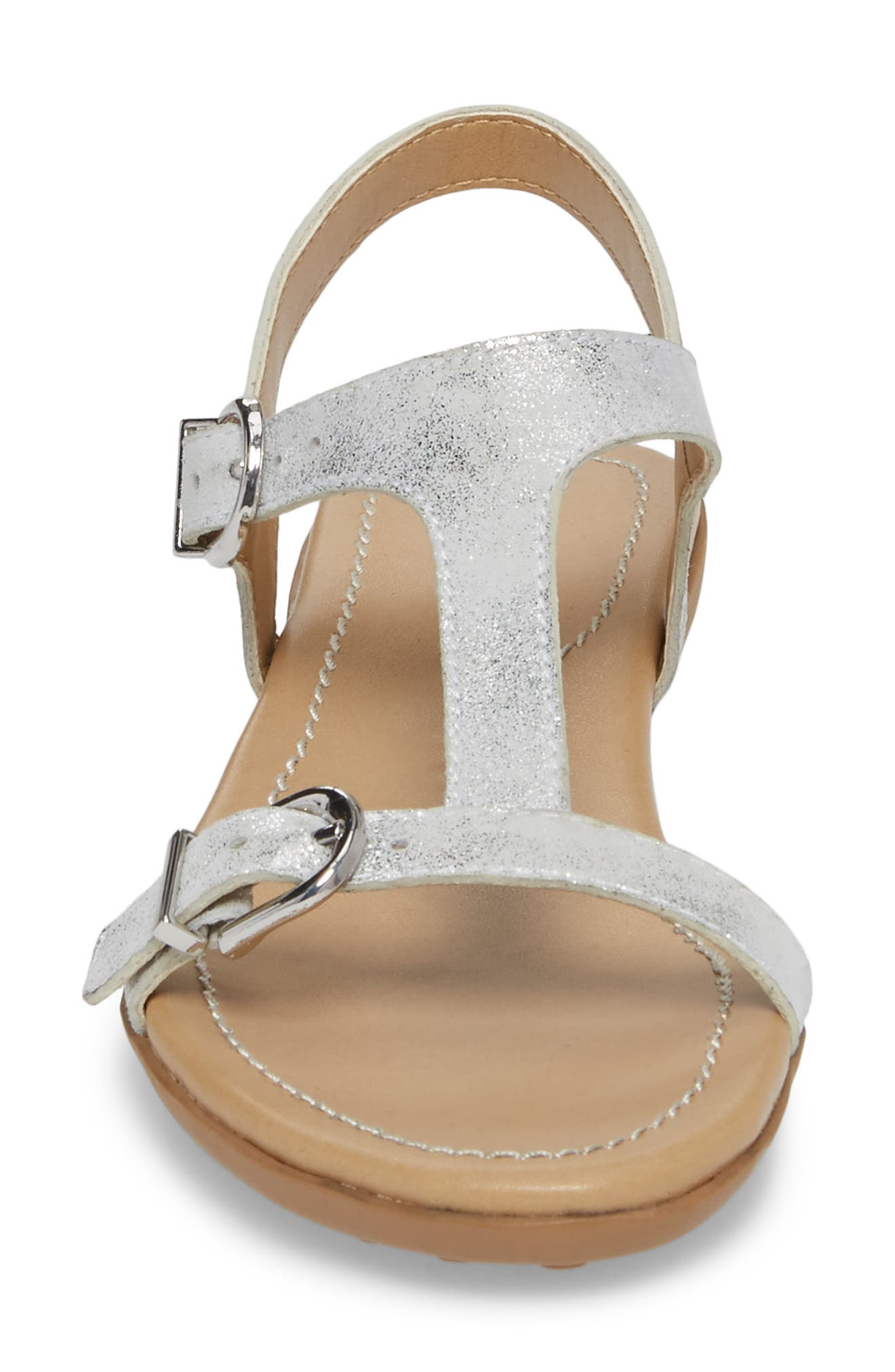 Taletha T-Strap Sandal,                             Alternate thumbnail 4, color,                             Silver Printed Suede