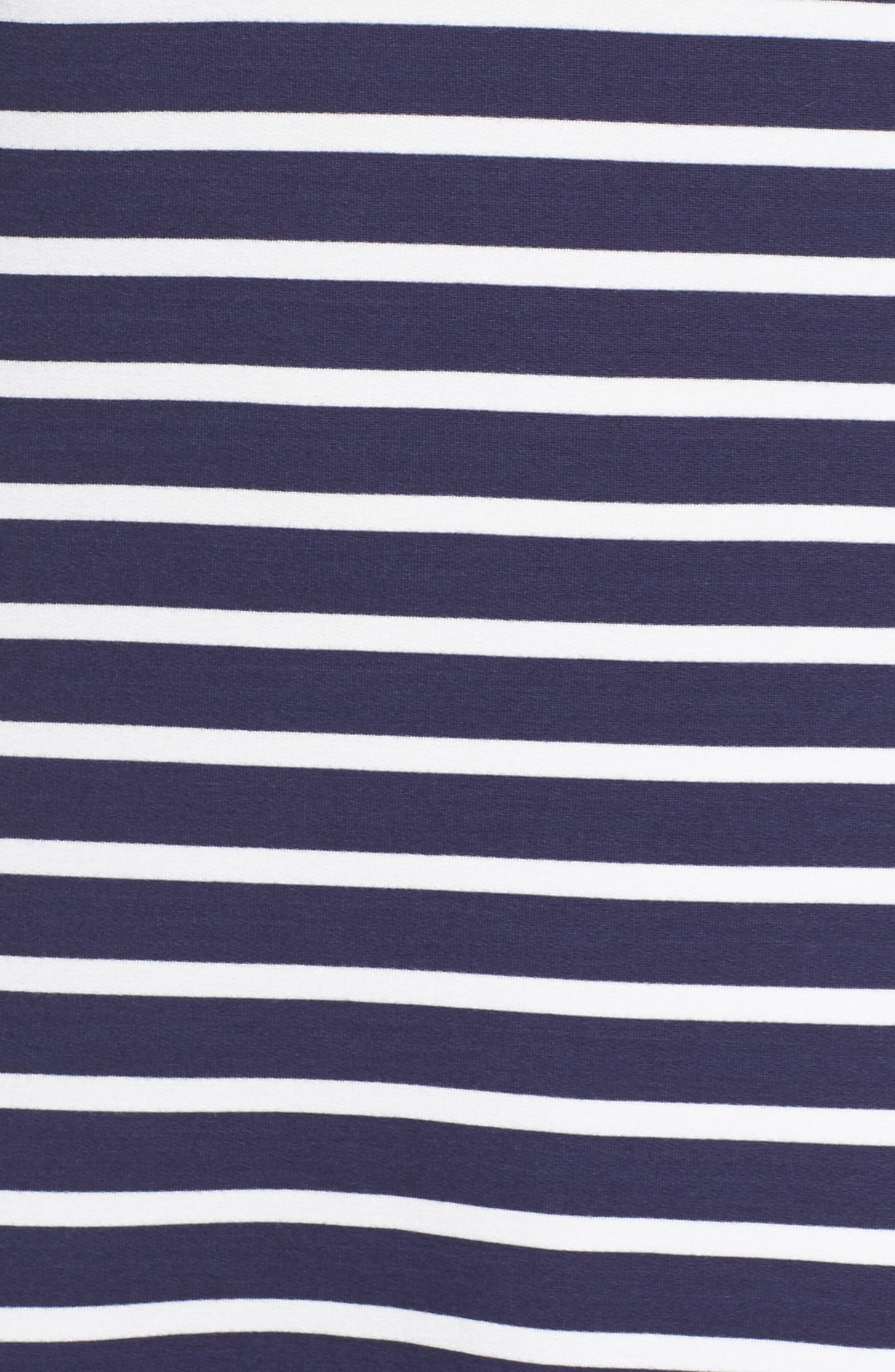 Adelene Stripe Knit Shift Dress,                             Alternate thumbnail 5, color,                             Navy