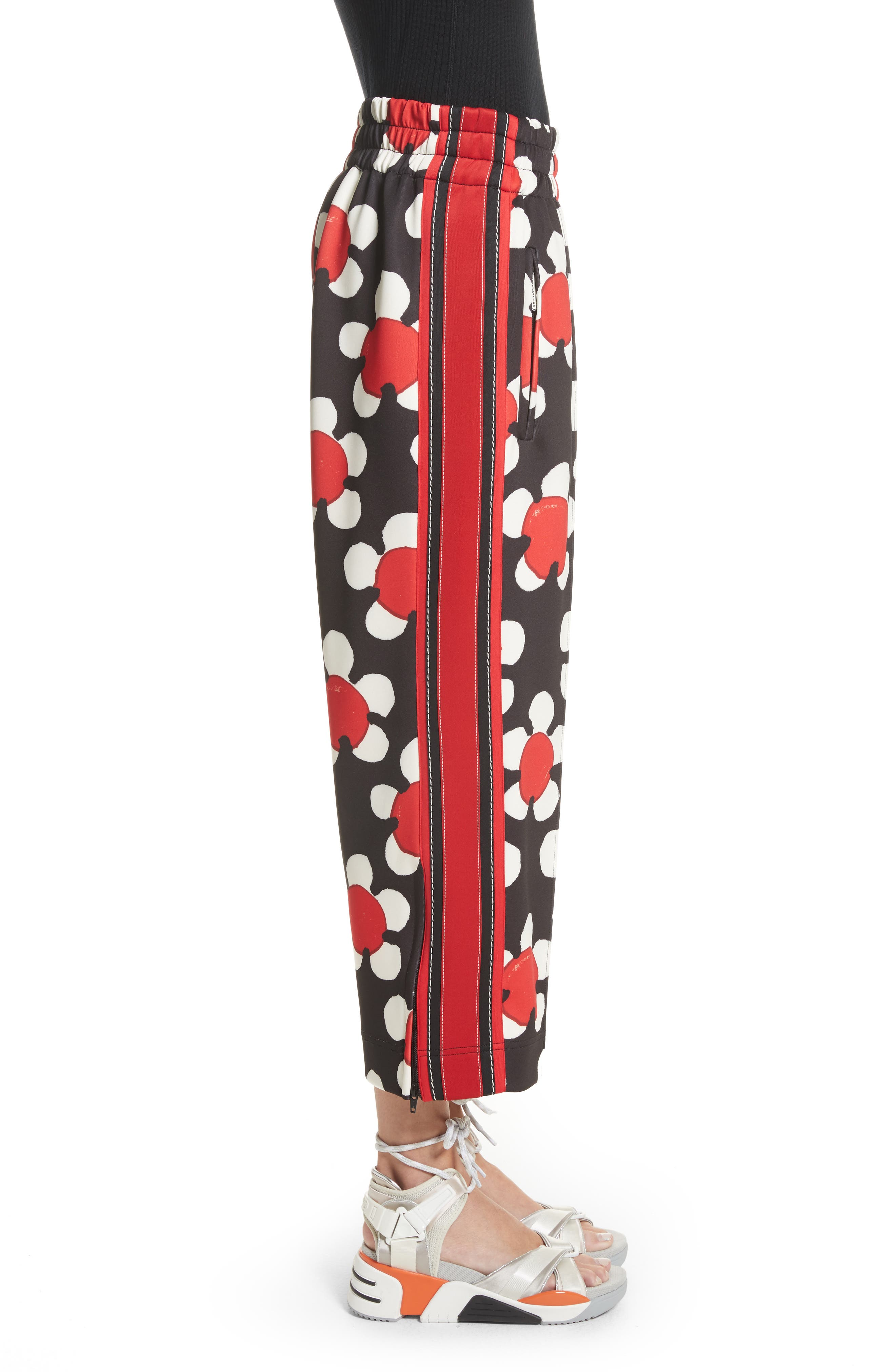 Floral Print Crop Track Pants,                             Alternate thumbnail 3, color,                             Red Multi