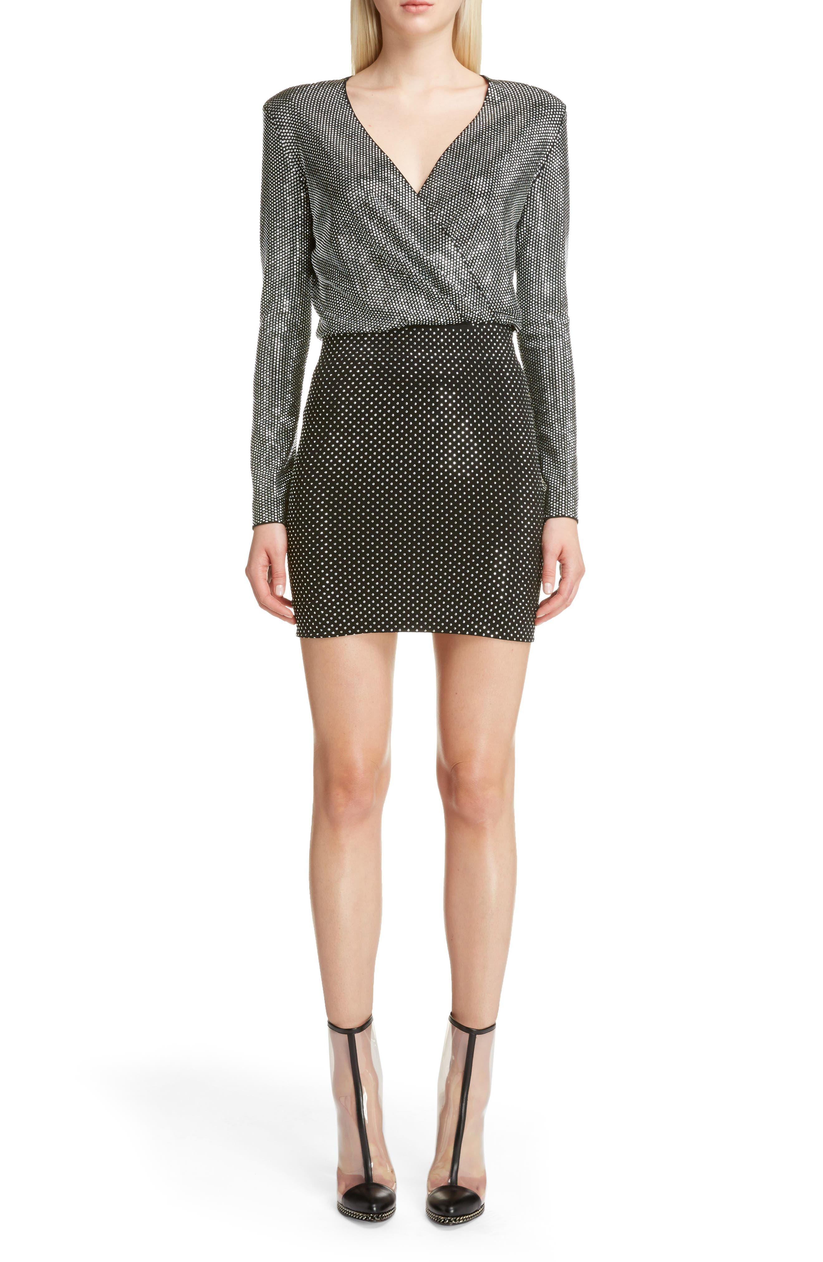 Studded Surplice Minidress,                             Main thumbnail 1, color,                             Black/ Silver