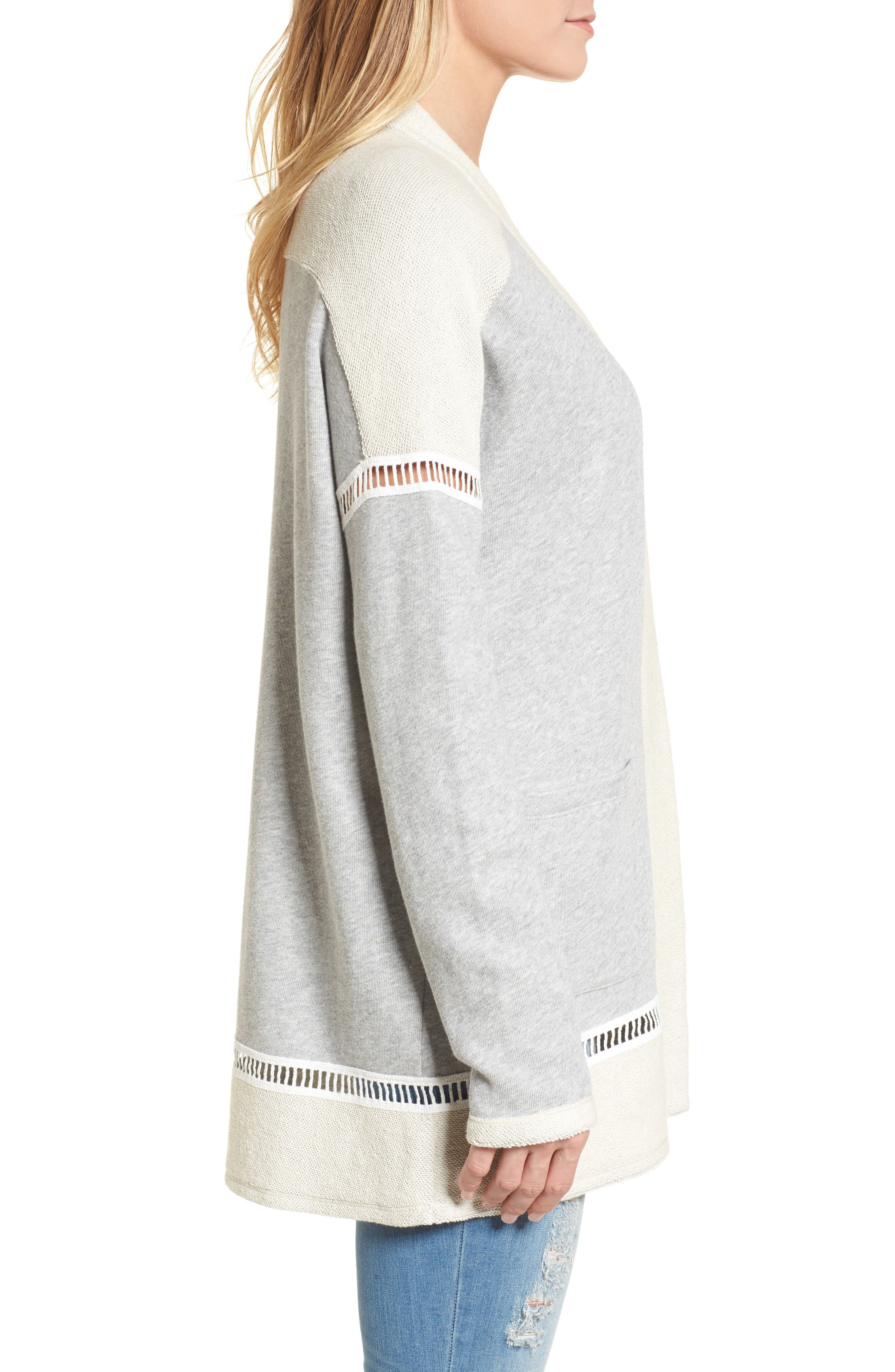 French Terry Open Front Cotton Cardigan,                             Alternate thumbnail 3, color,                             Grey Heather