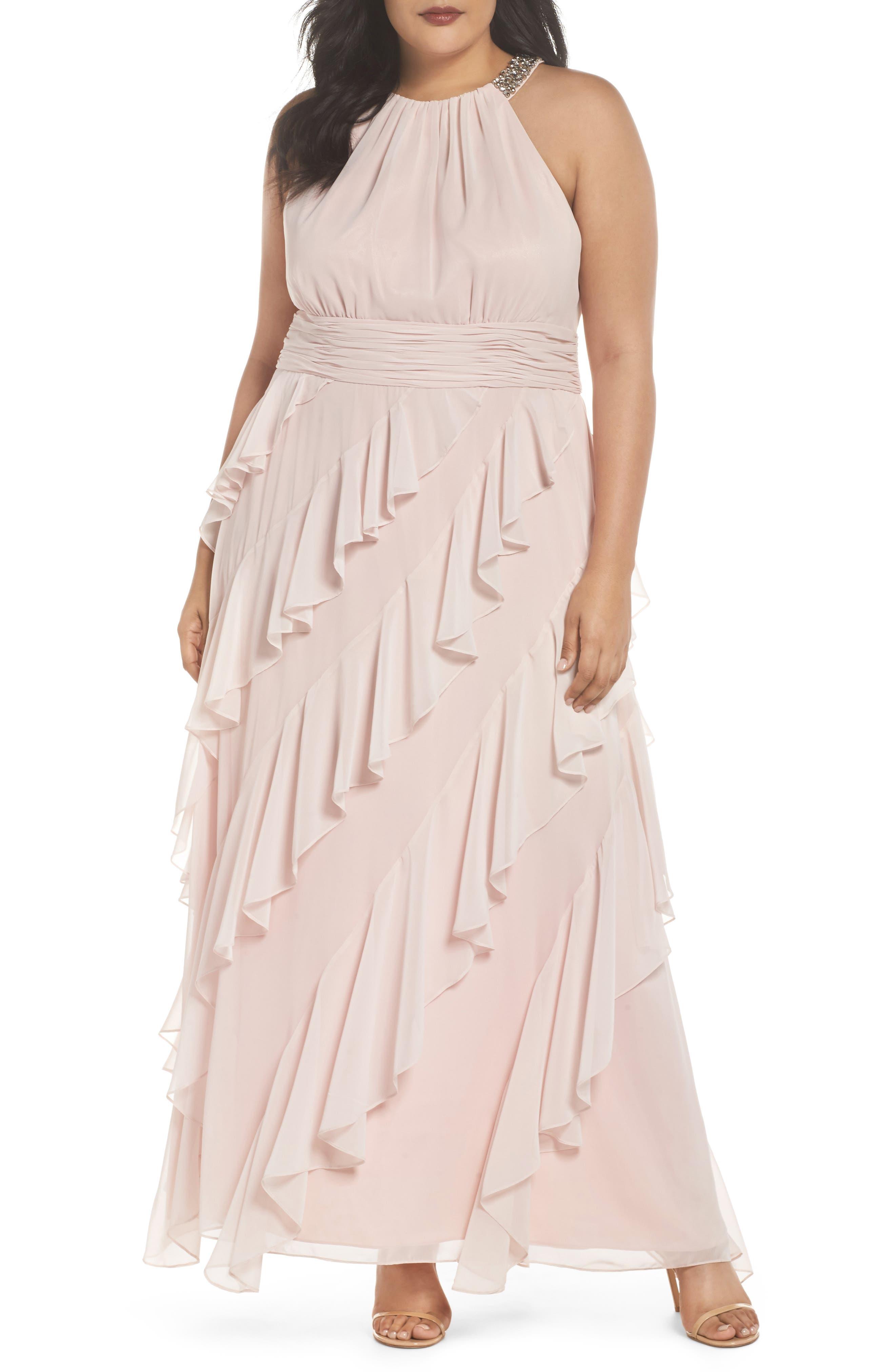 Eliza J Embellished Ruffle Chiffon Gown (Plus Size)