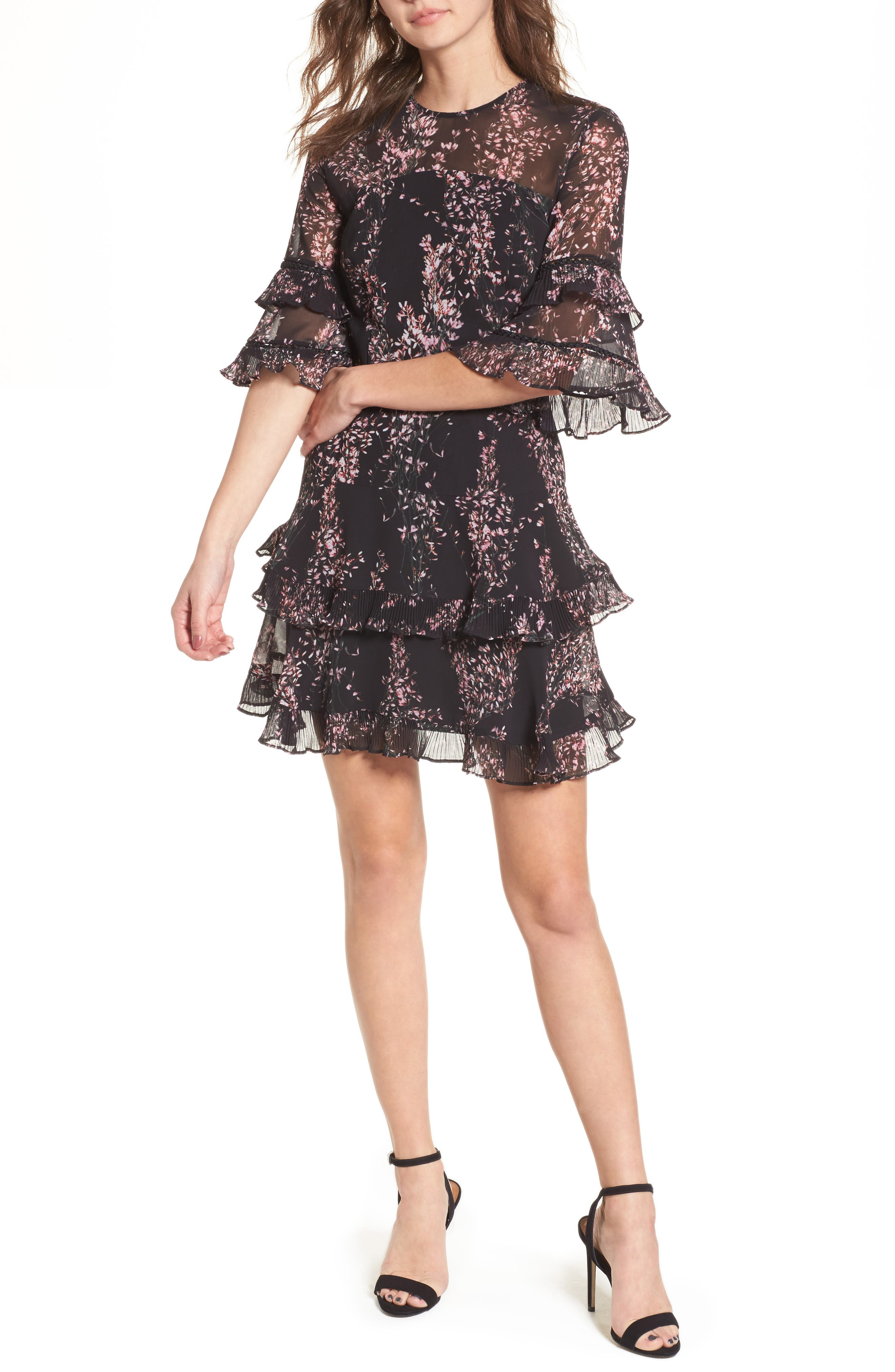 Light Up Ruffle Minidress,                             Main thumbnail 1, color,                             Black Wildflower Floral