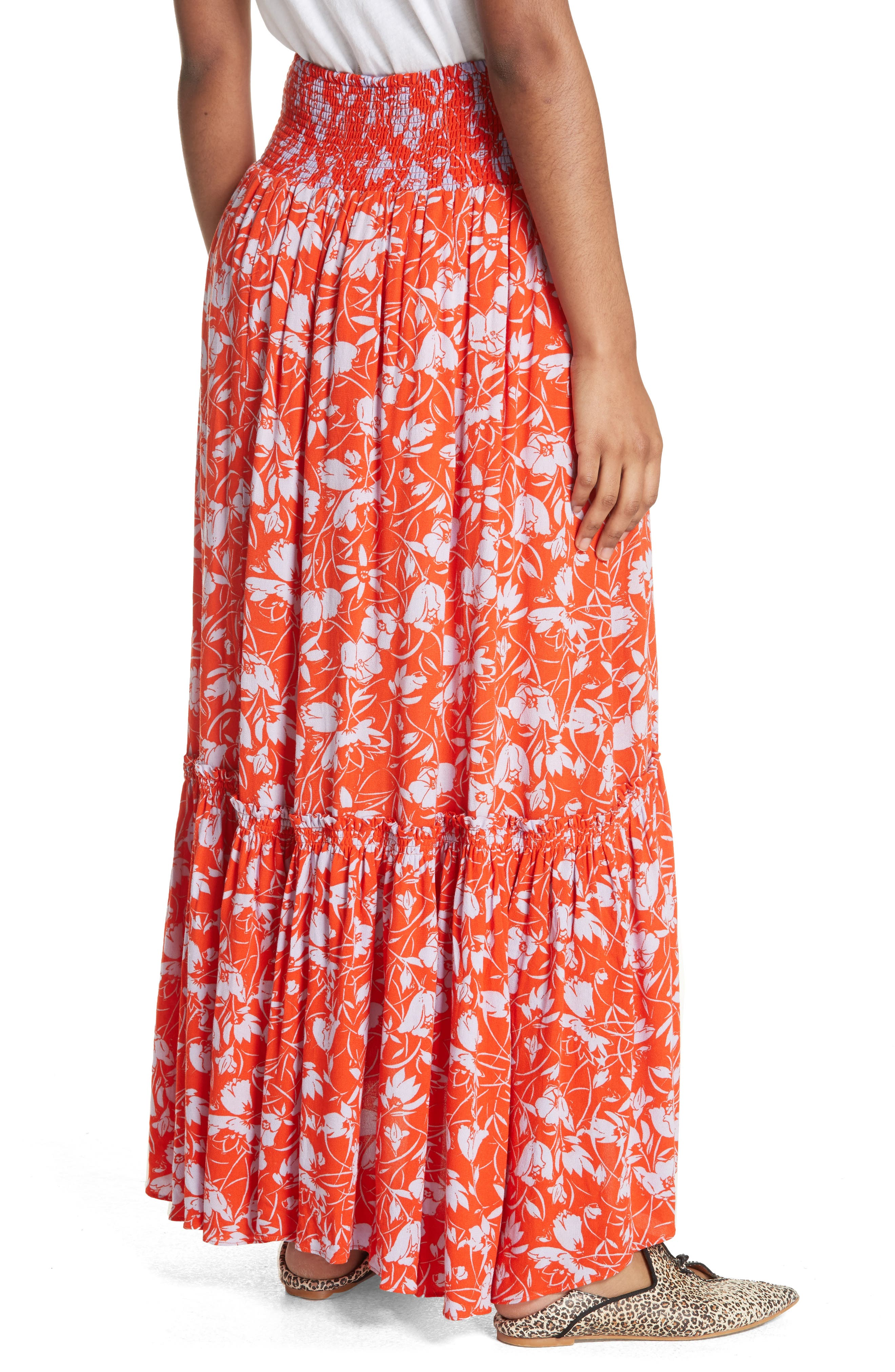 Way of the Wind Print Maxi Skirt,                             Alternate thumbnail 2, color,                             Red