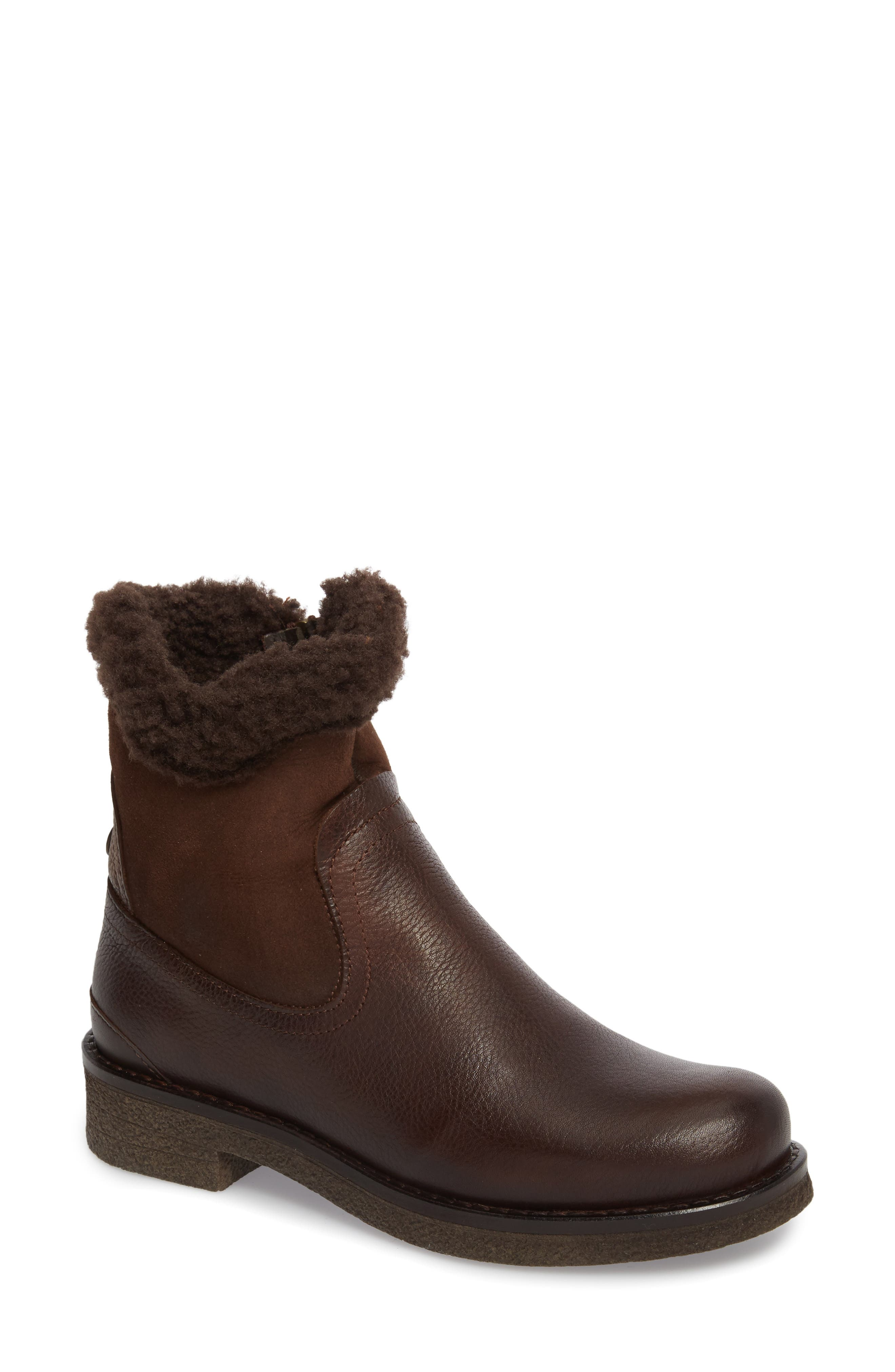 Odessa Waterproof Insulated Snow Boot,                             Main thumbnail 1, color,                             Brown Fur Leather