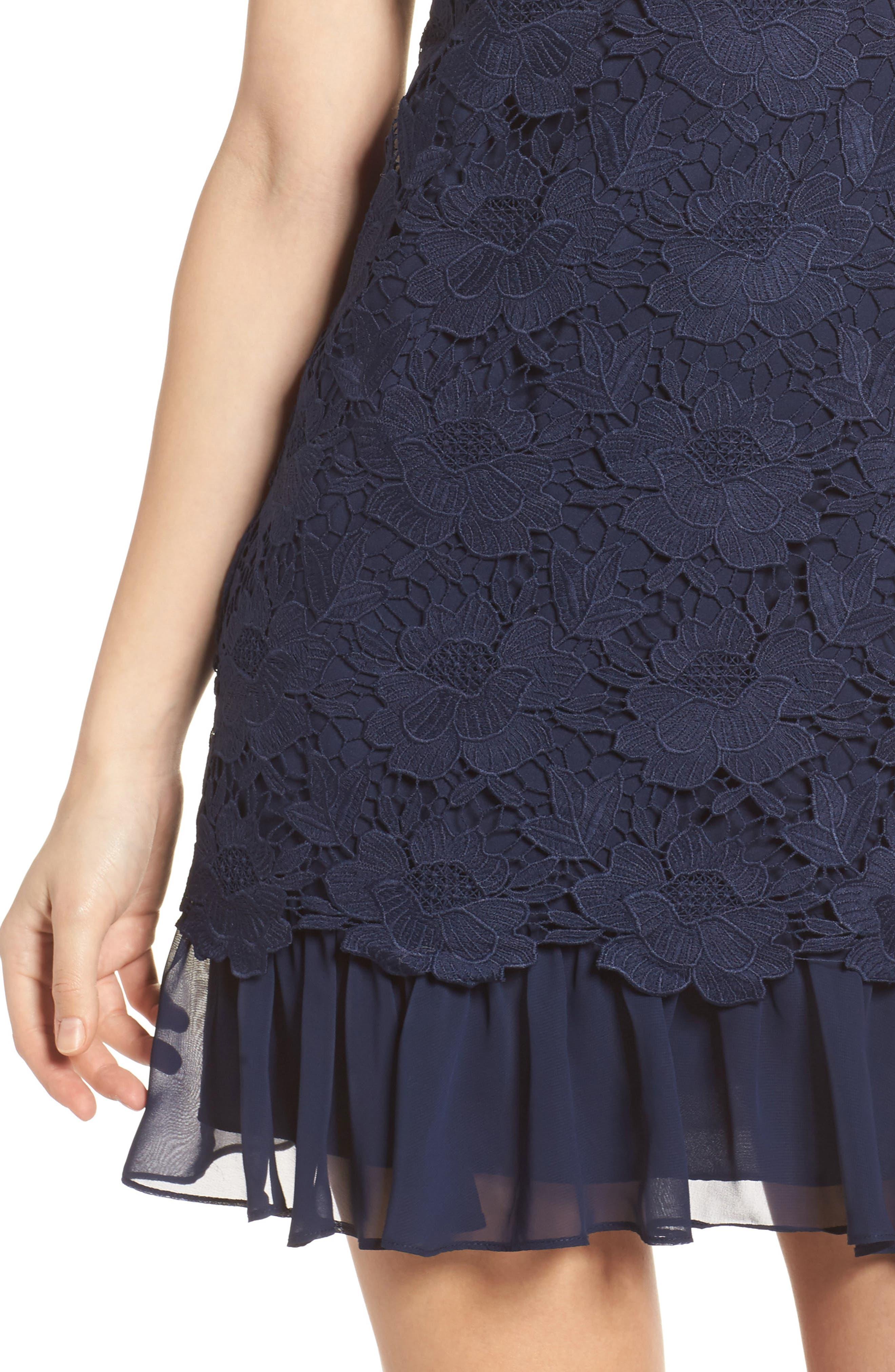 Lace Ruffle Hem Sheath Dress,                             Alternate thumbnail 4, color,                             Navy