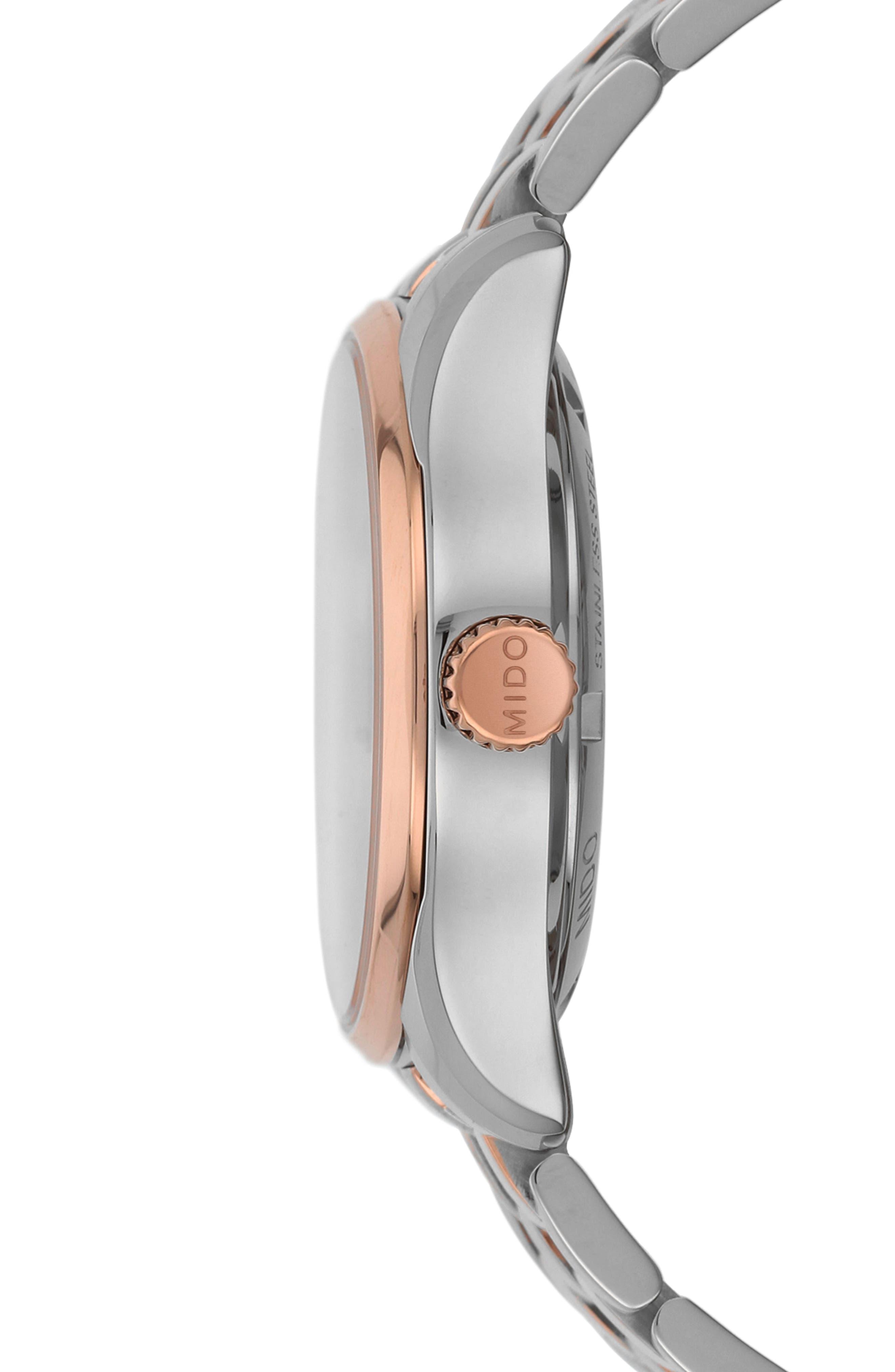 Belluna II Bracelet Watch, 33mm,                             Alternate thumbnail 4, color,                             Silver/ Mop/ Rose Gold