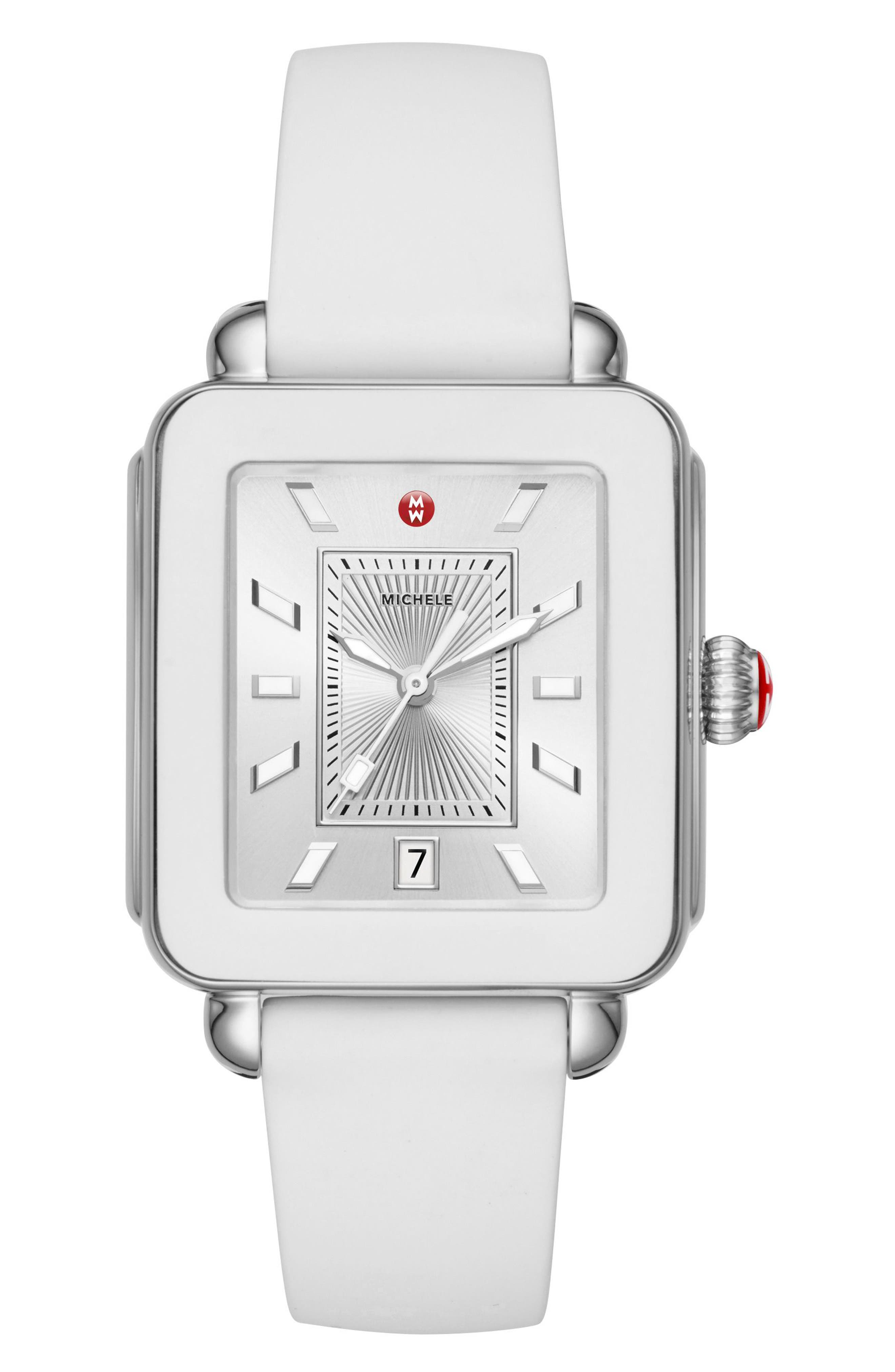 Deco Sport Watch Head & Silicone Strap Watch, 34mm x 36mm,                             Main thumbnail 1, color,                             White/ Silver