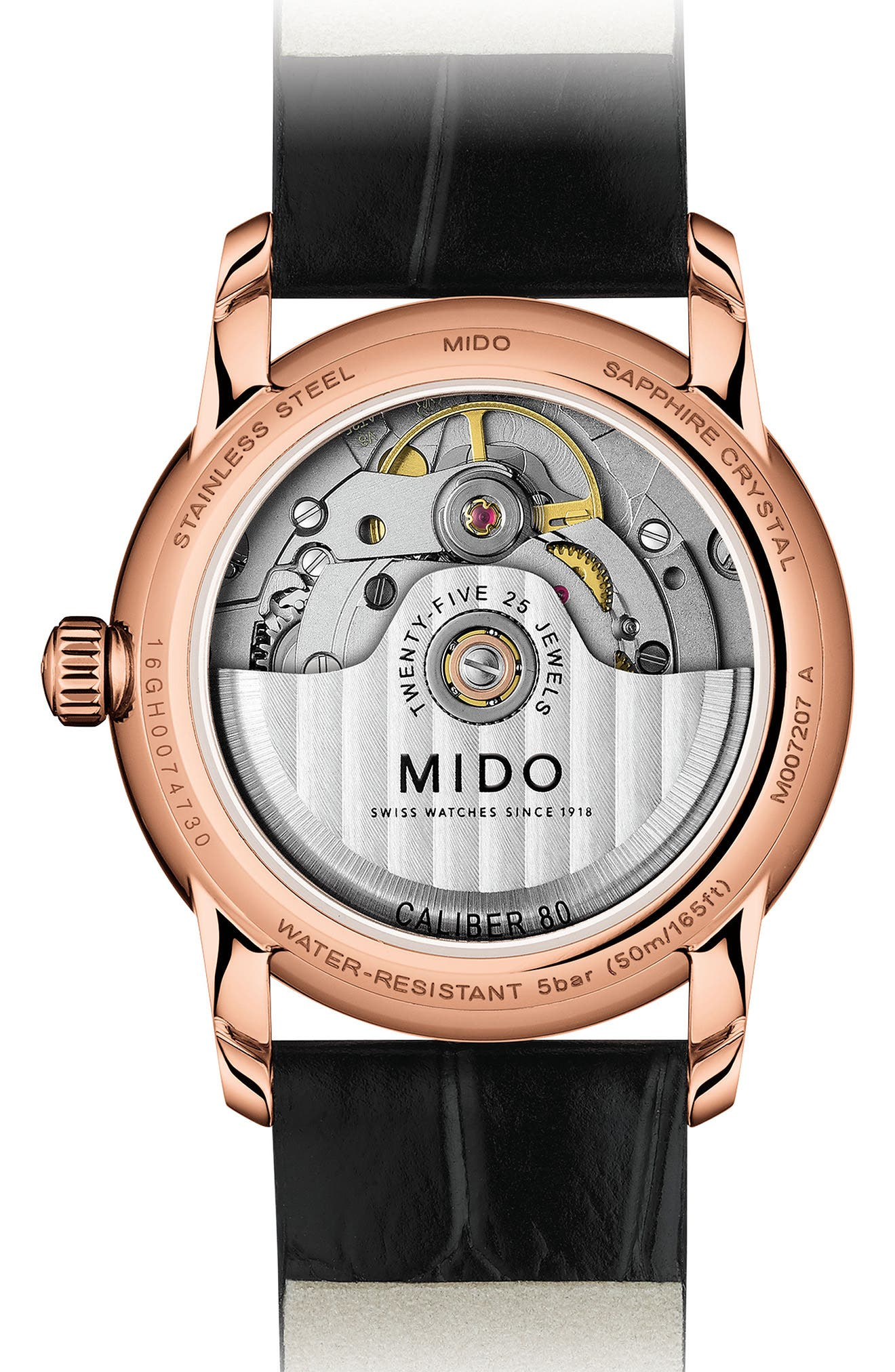 Alternate Image 2  - Mido Baroncelli Diamond Leather Strap Watch, 33mm