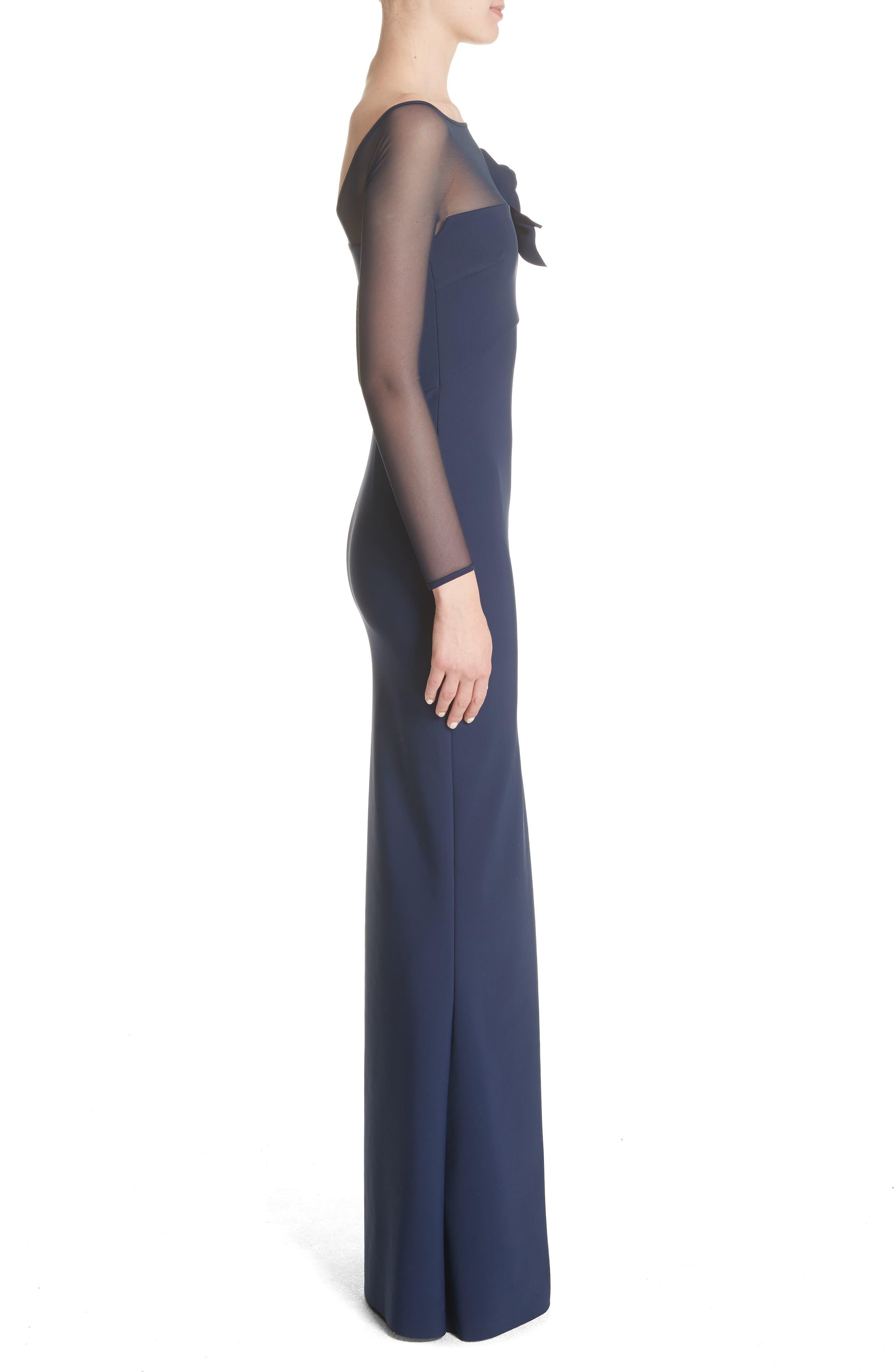 Saori Mesh Panel Mermaid Gown,                             Alternate thumbnail 3, color,                             Blu Notte