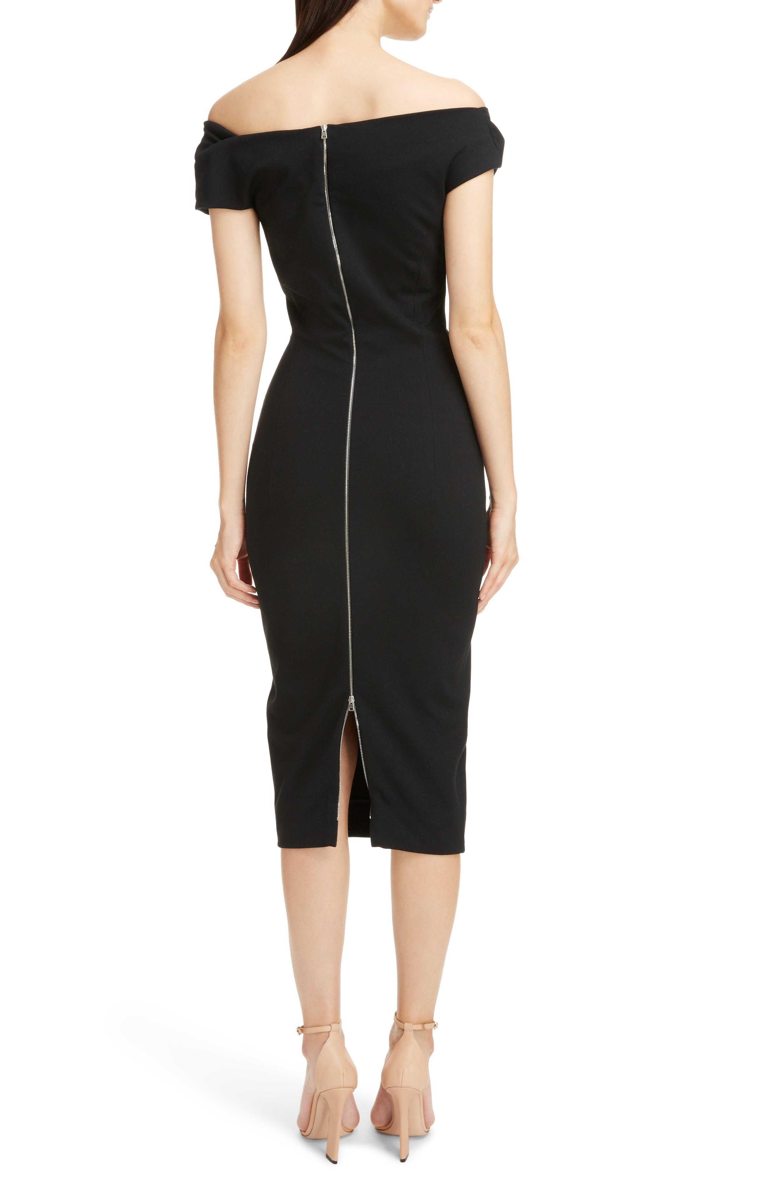 Matte Jersey Off the Shoulder Dress,                             Alternate thumbnail 2, color,                             Black
