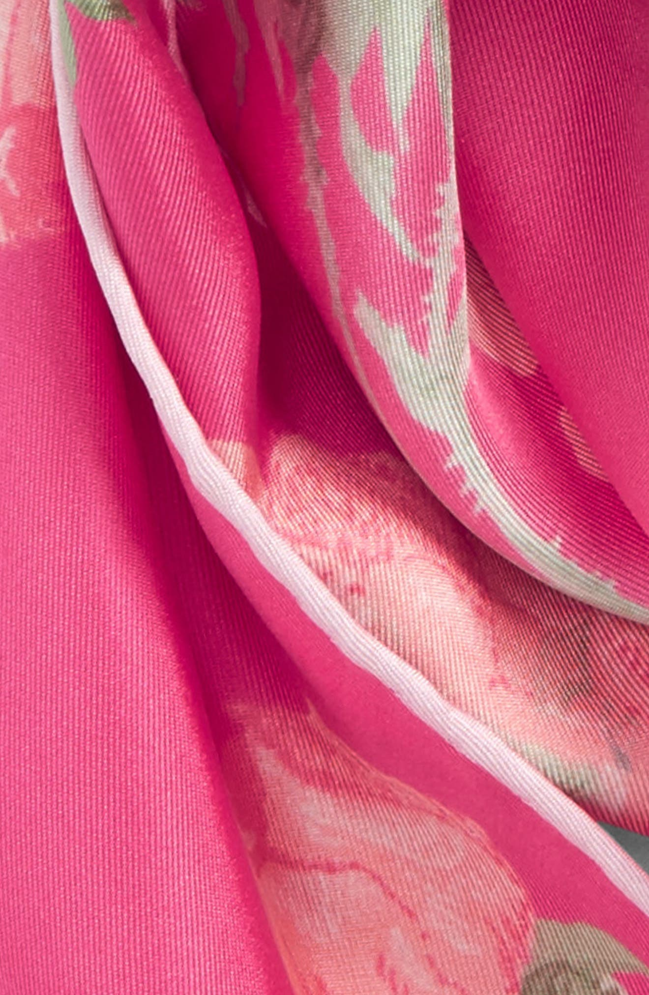 Garden Rose Losange Silk Twill Scarf,                             Alternate thumbnail 3, color,                             Fuxia/ Pink