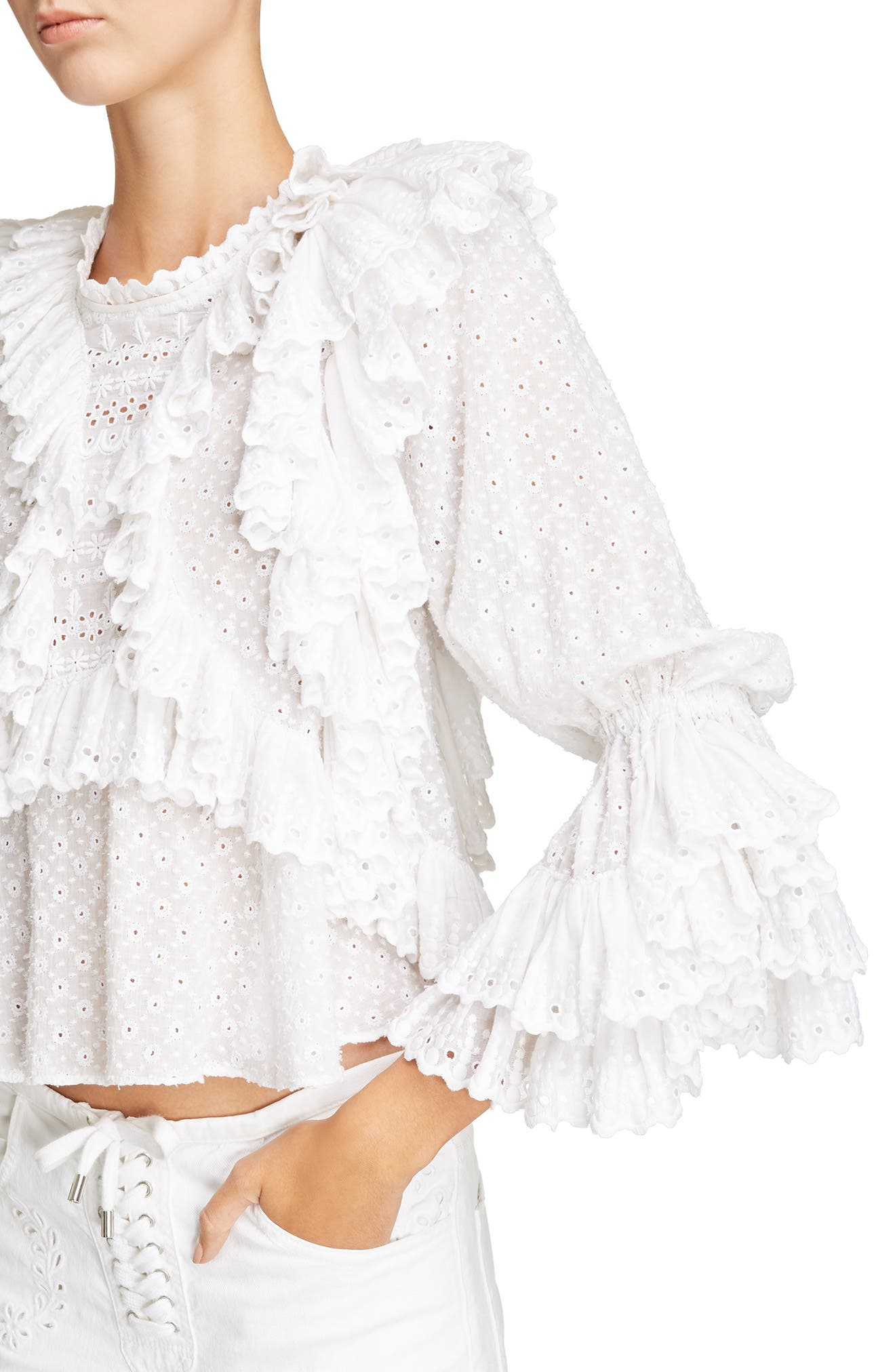 Ruffle Detail Broderie Anglaise Top,                             Alternate thumbnail 4, color,                             White