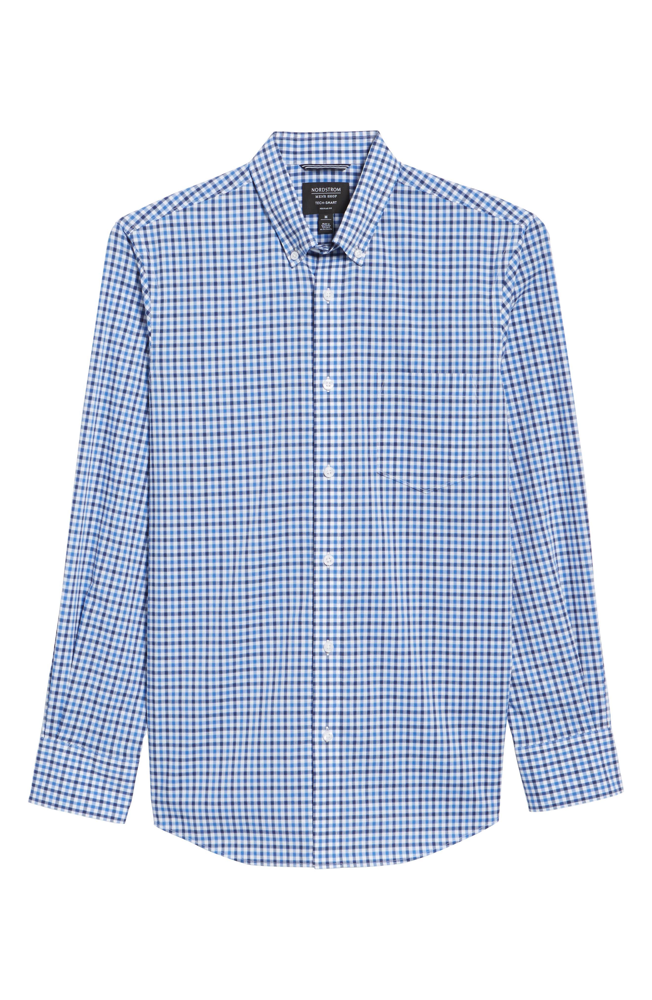 Tech-Smart Regular Fit Check Sport Shirt,                             Alternate thumbnail 6, color,                             Blue Camp Navy Check