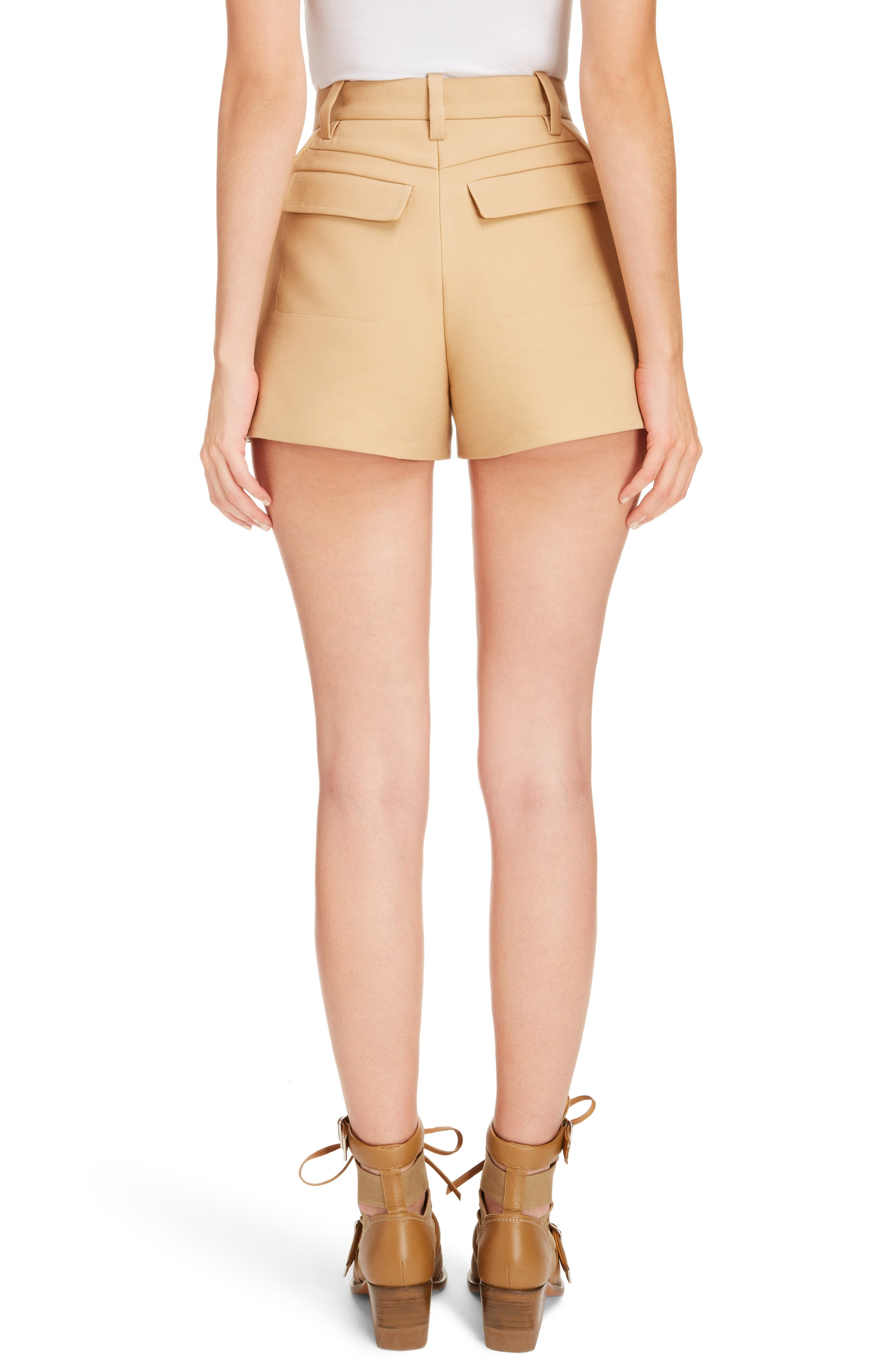 Side Pleat Wool & Silk Blend Shorts,                             Alternate thumbnail 3, color,                             Quiet Brown