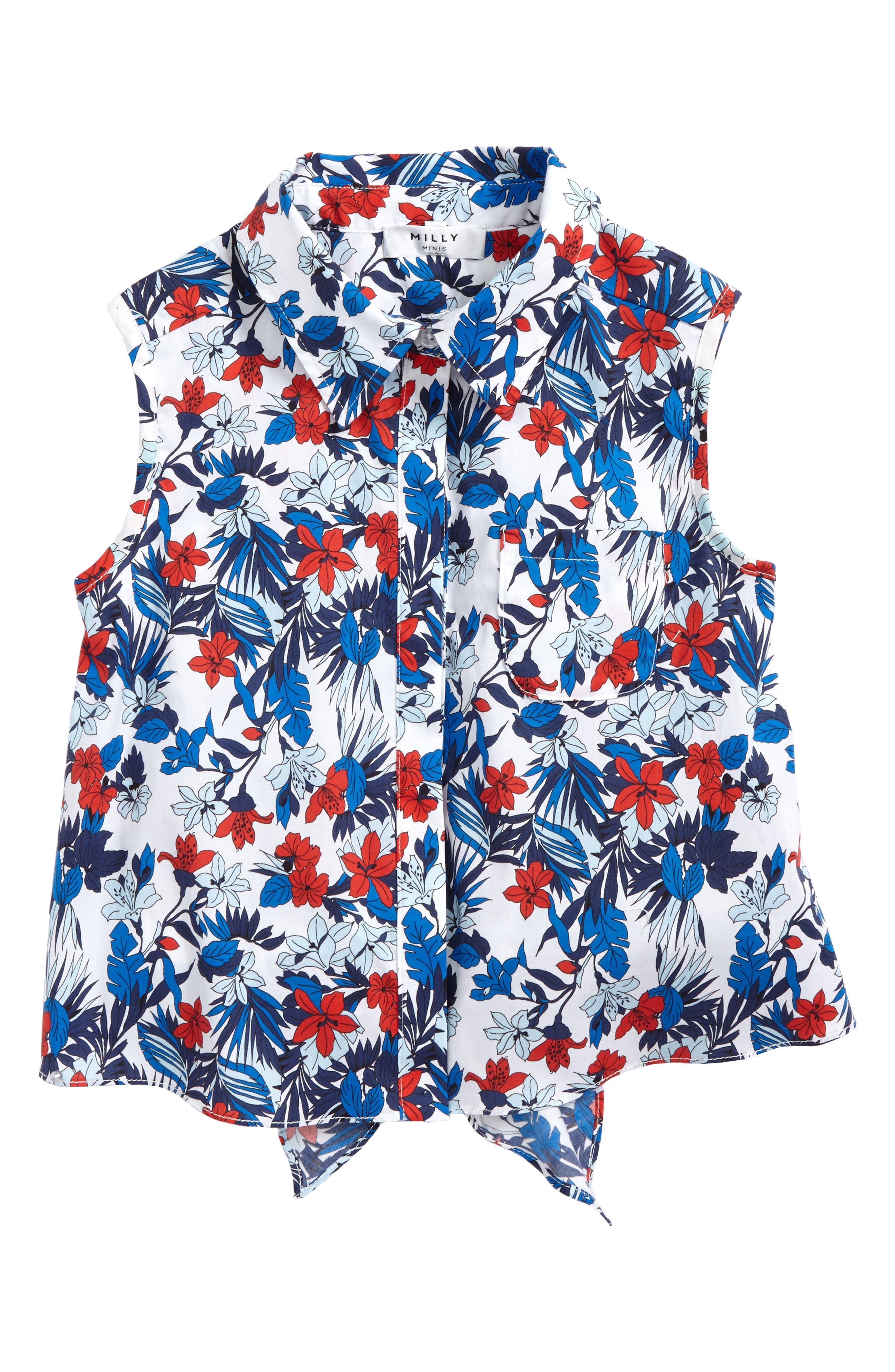 Tie Back Sleeveless Top,                         Main,                         color, Blue Multi