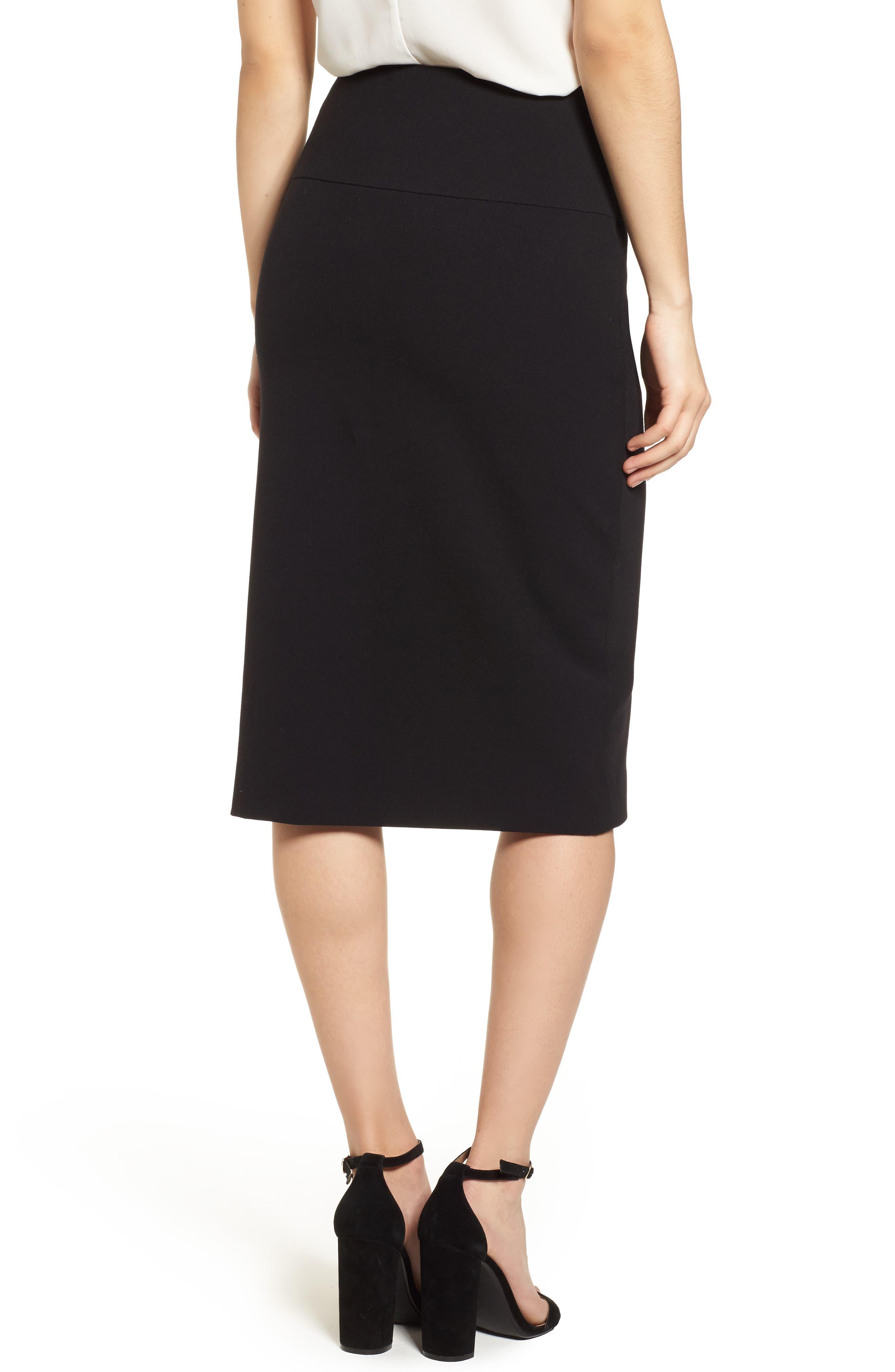 Asymmetrical Pencil Skirt,                             Alternate thumbnail 2, color,                             Black