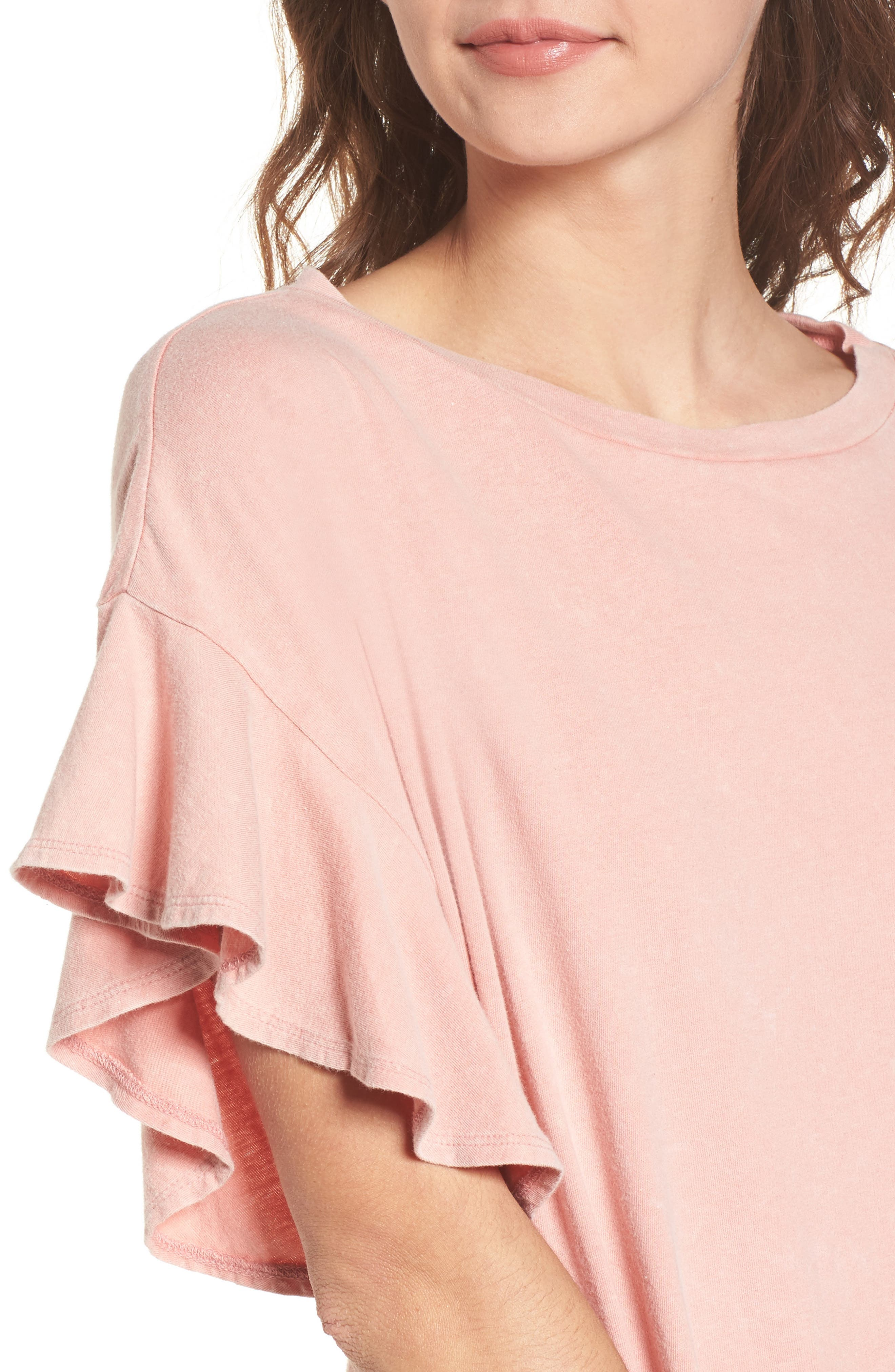 Stonewash Ruffle Trim Dress,                             Alternate thumbnail 4, color,                             Pink Dawn