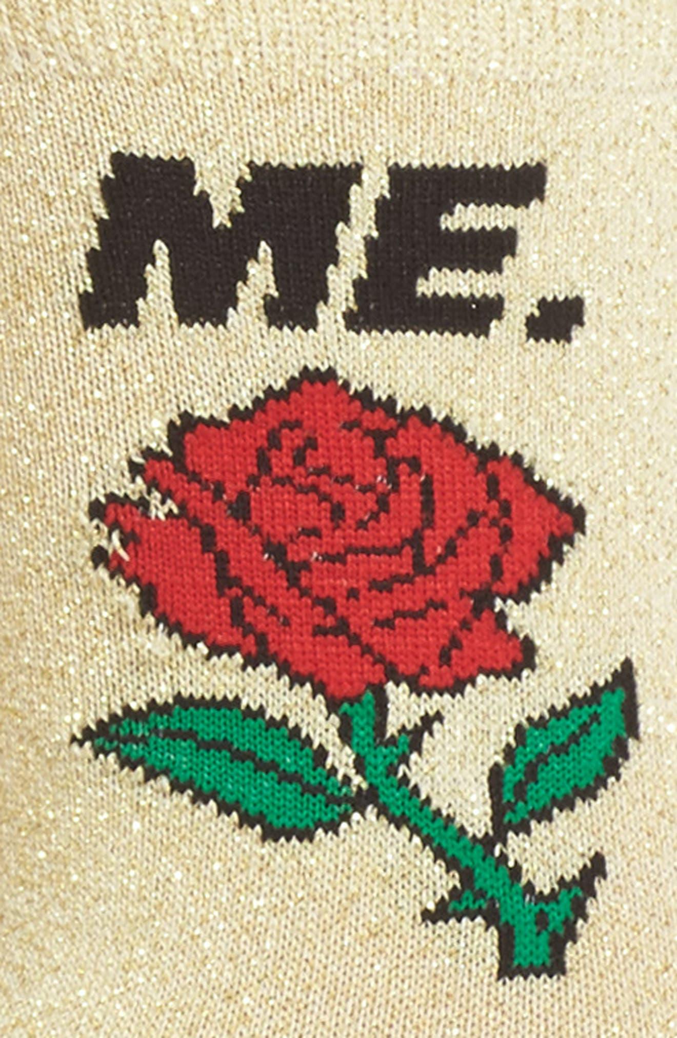 ME Rose Glitter Socks,                             Alternate thumbnail 2, color,                             Gold