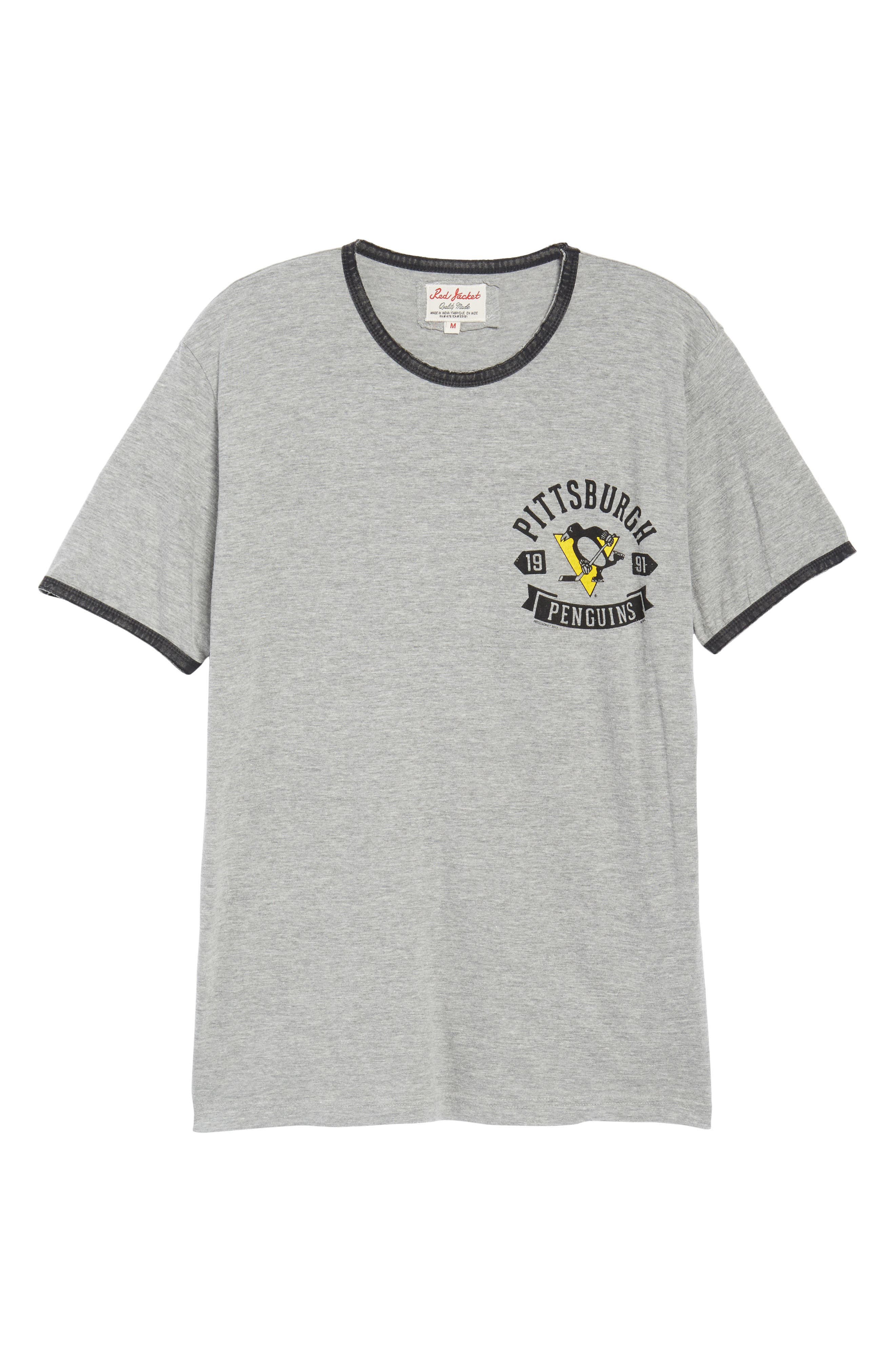 Portage Pittsburgh Penguins Ringer T-Shirt,                             Alternate thumbnail 6, color,                             Heather Grey-Black