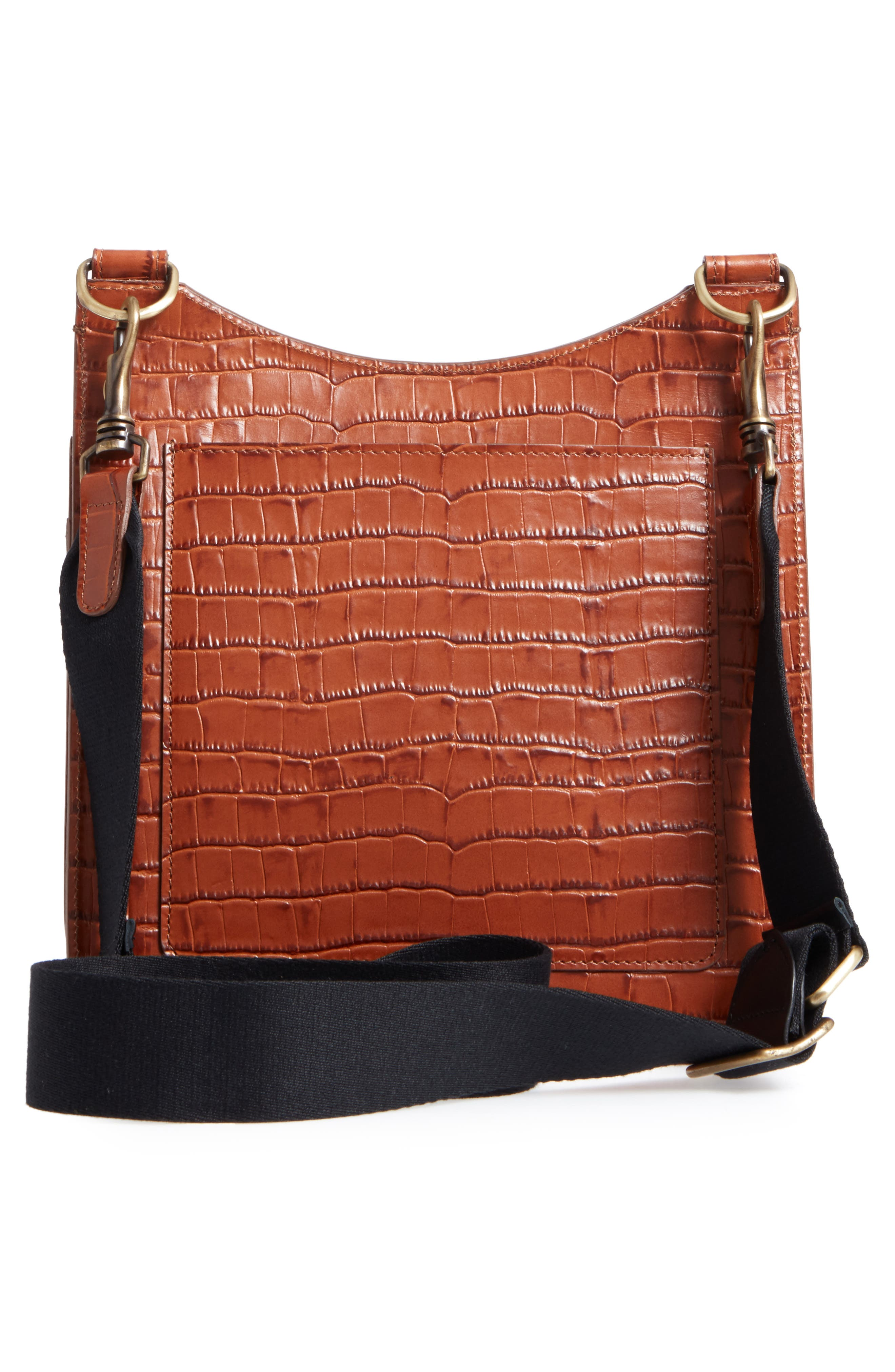Tall Equestrian Croc Embossed Leather Crossbody Bag,                             Alternate thumbnail 3, color,                             Caramel