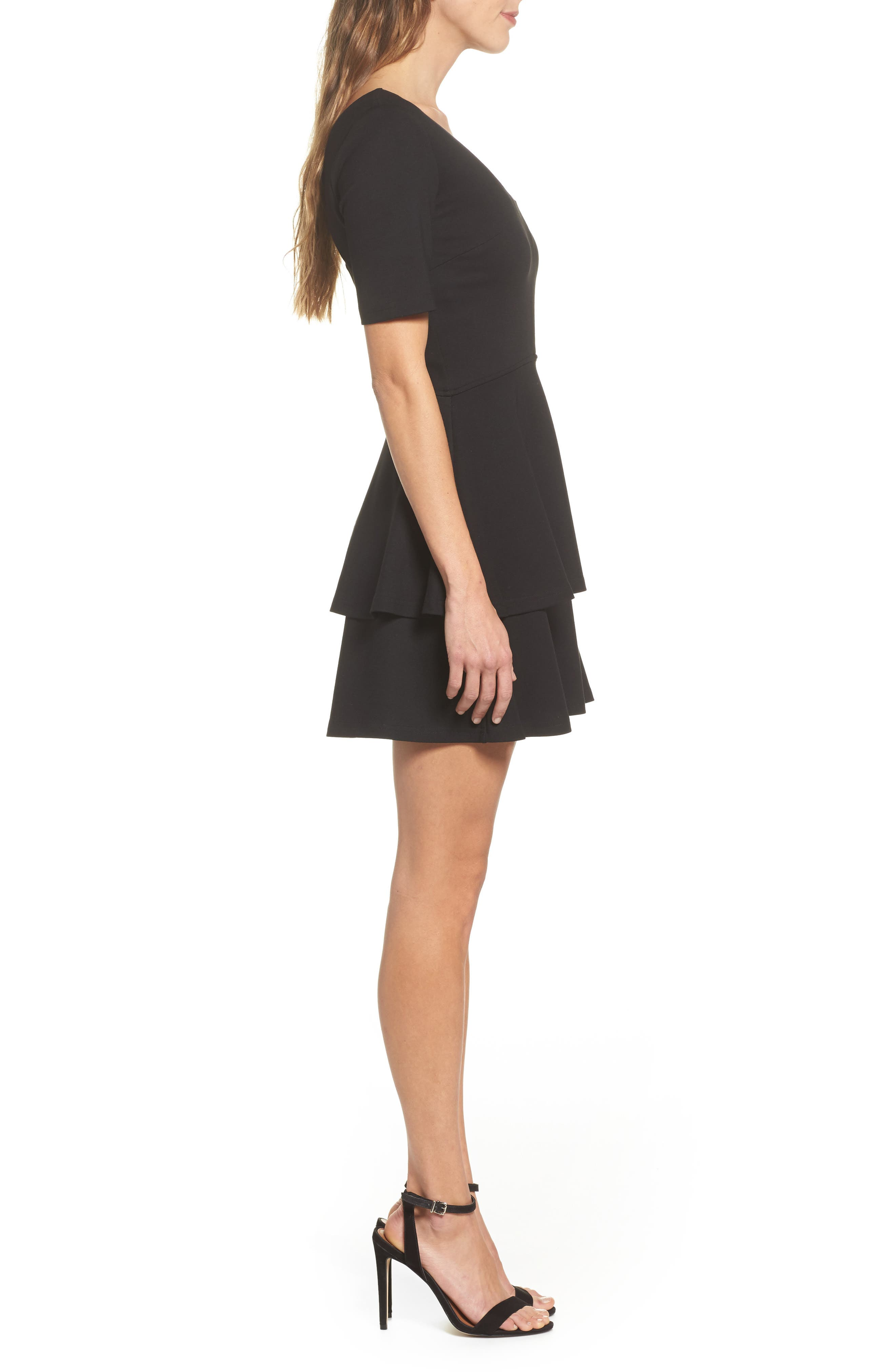 Isn't It Sweet Fit & Flare Dress,                             Alternate thumbnail 4, color,                             Black