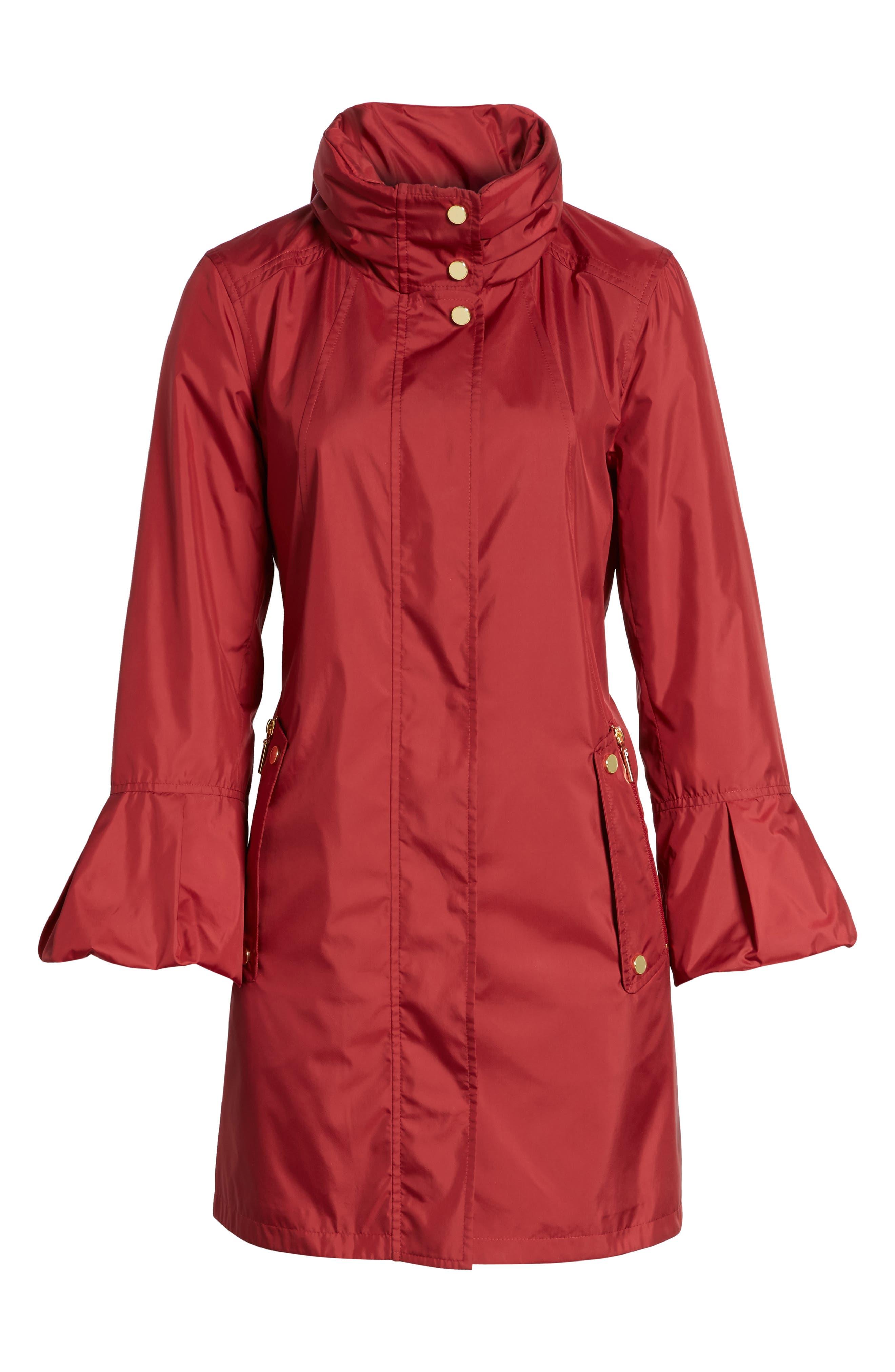 Flare Sleeve Packable Swing Jacket,                             Alternate thumbnail 6, color,                             Garnet