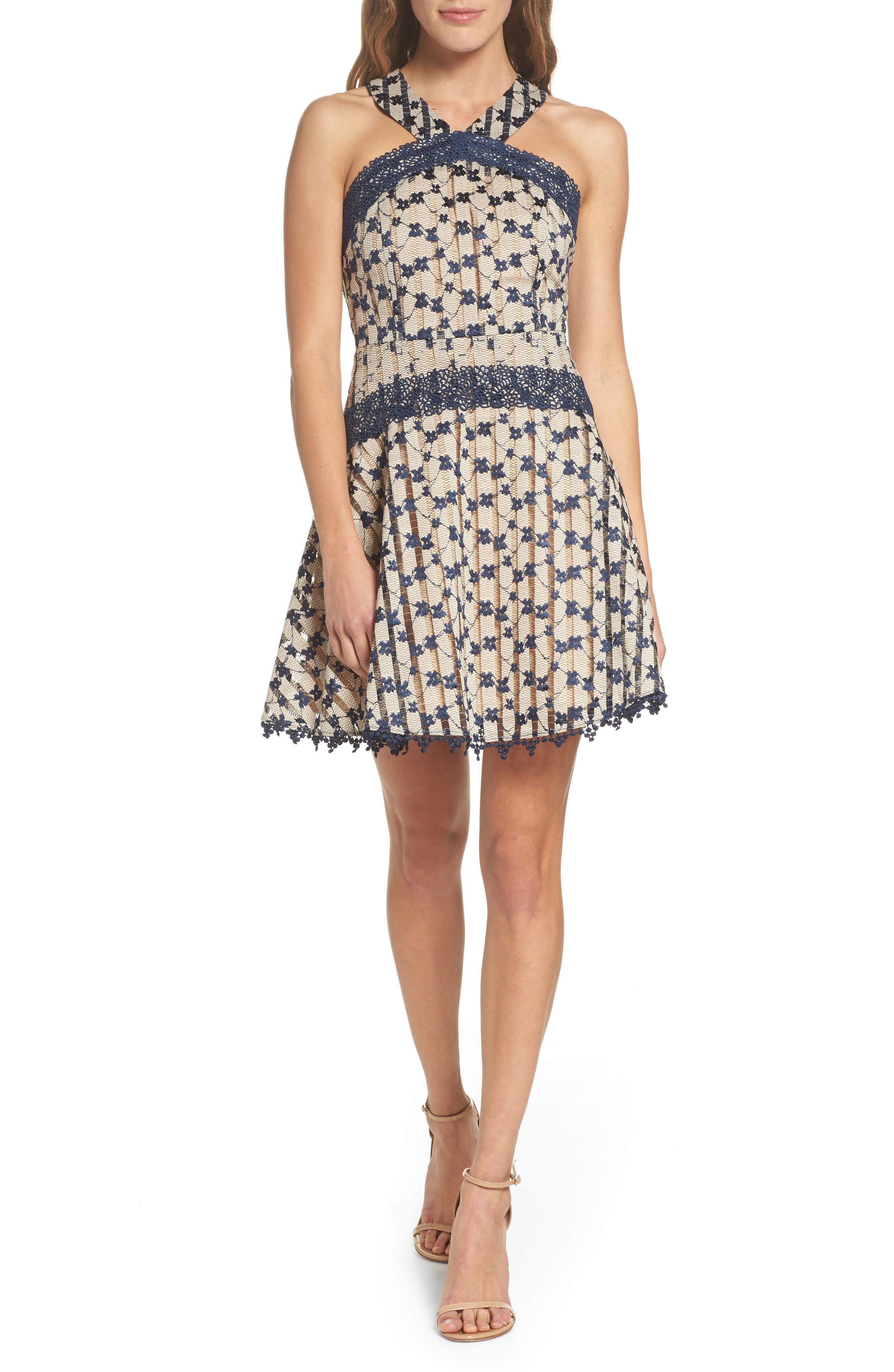 Cordelia Halter Minidress,                         Main,                         color, Navy
