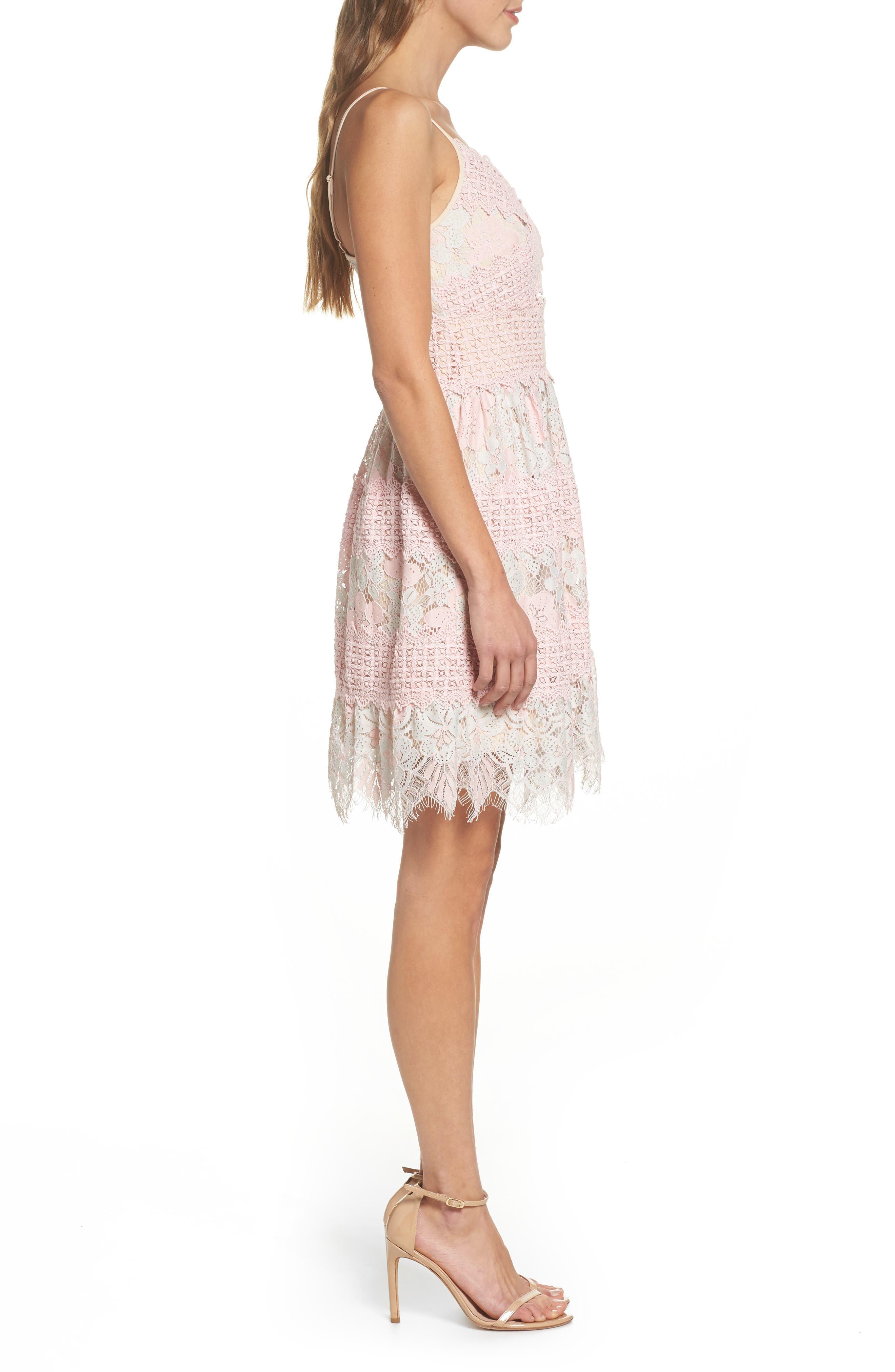 Tabitha Lace Minidress,                             Alternate thumbnail 3, color,                             Aquarose