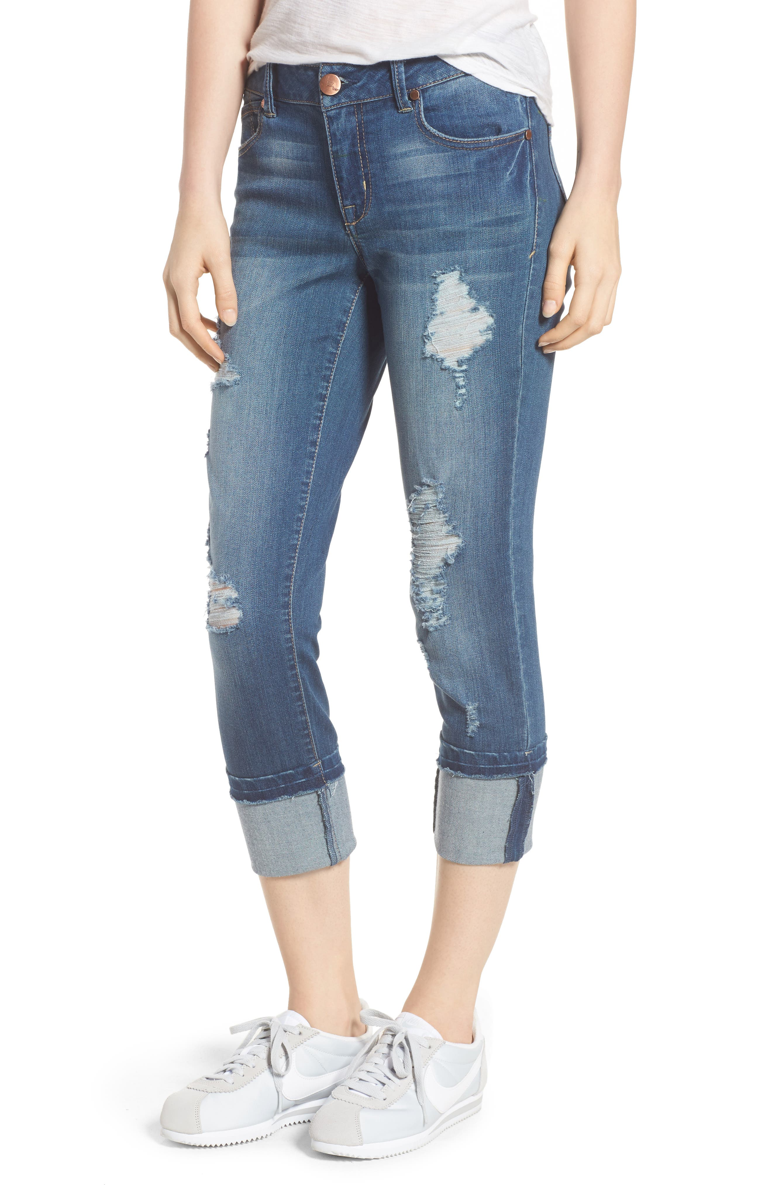 Decon Cuffed Skinny Jeans,                             Main thumbnail 1, color,                             Dedra