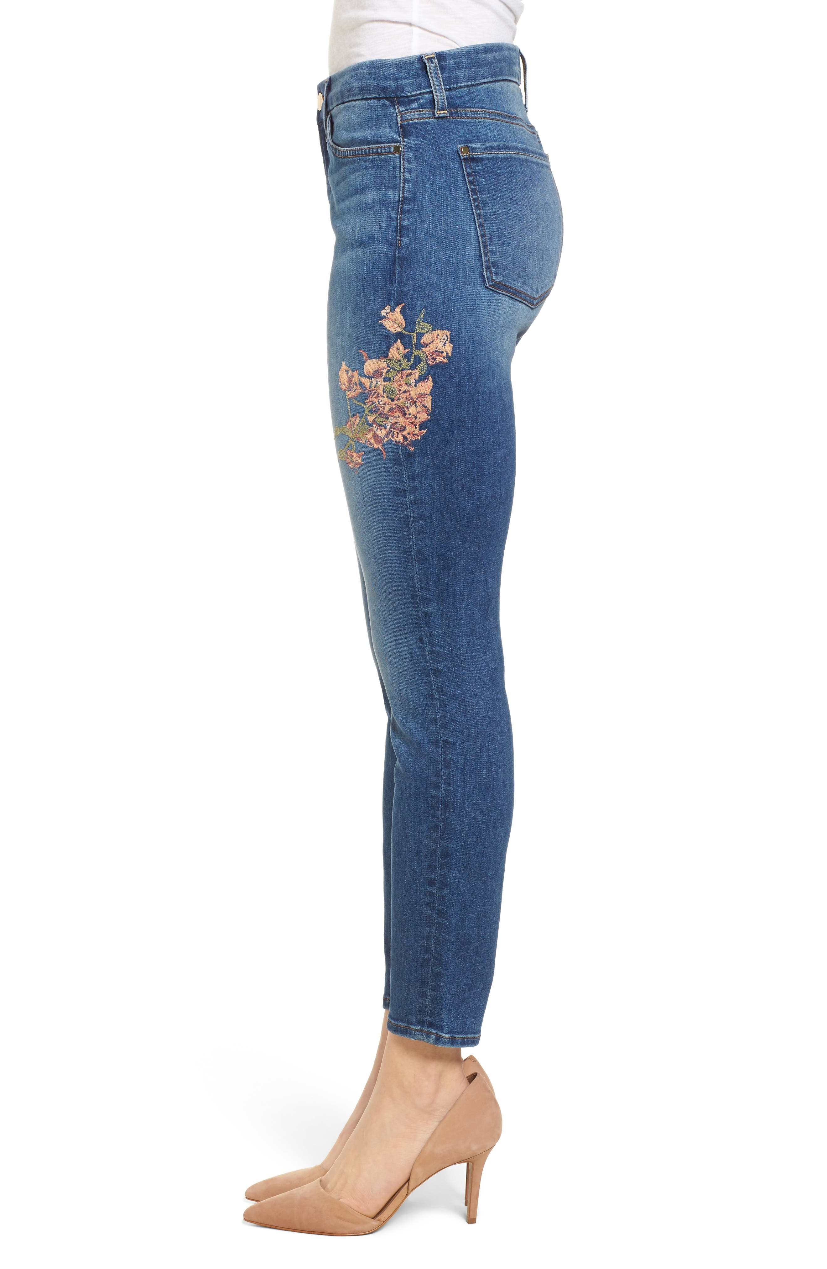 Embroidered Ankle Skinny Jeans,                             Alternate thumbnail 3, color,                             Garden City