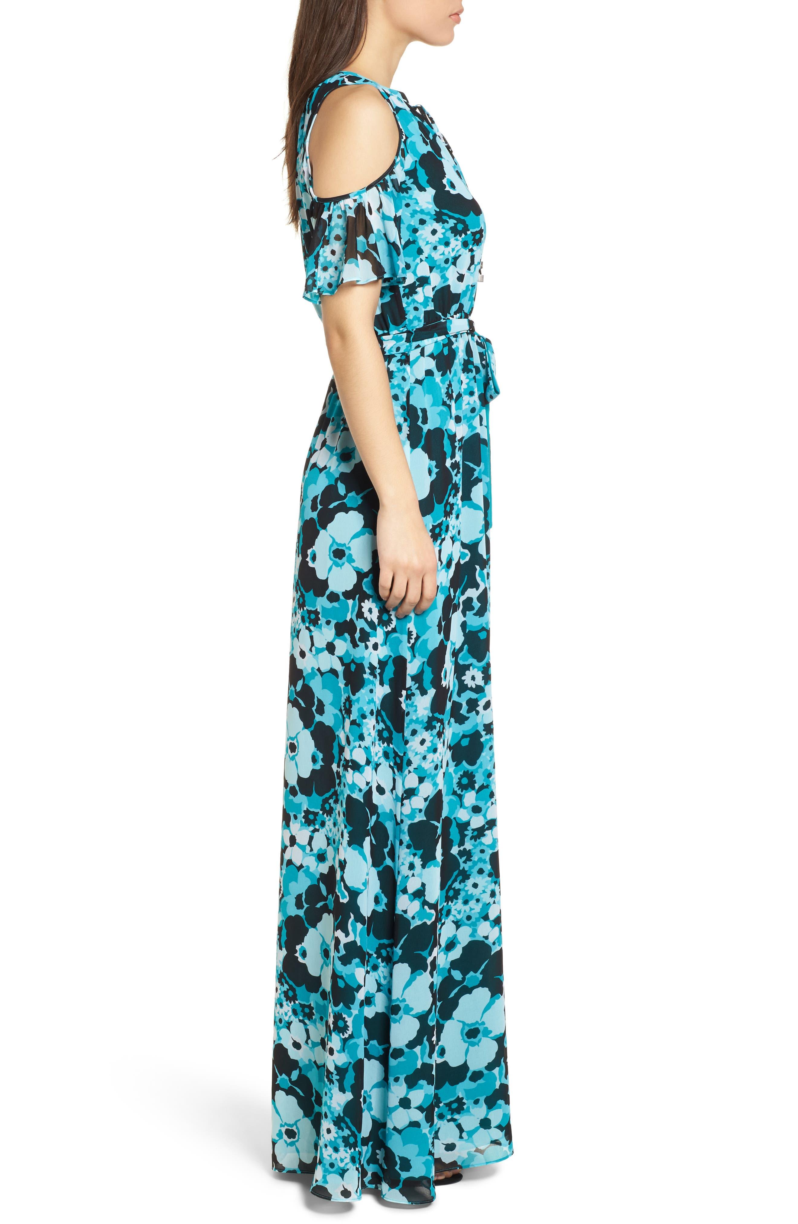 Spring Floral Maxi Dress,                             Alternate thumbnail 3, color,                             Tile Blue/ Black Multi