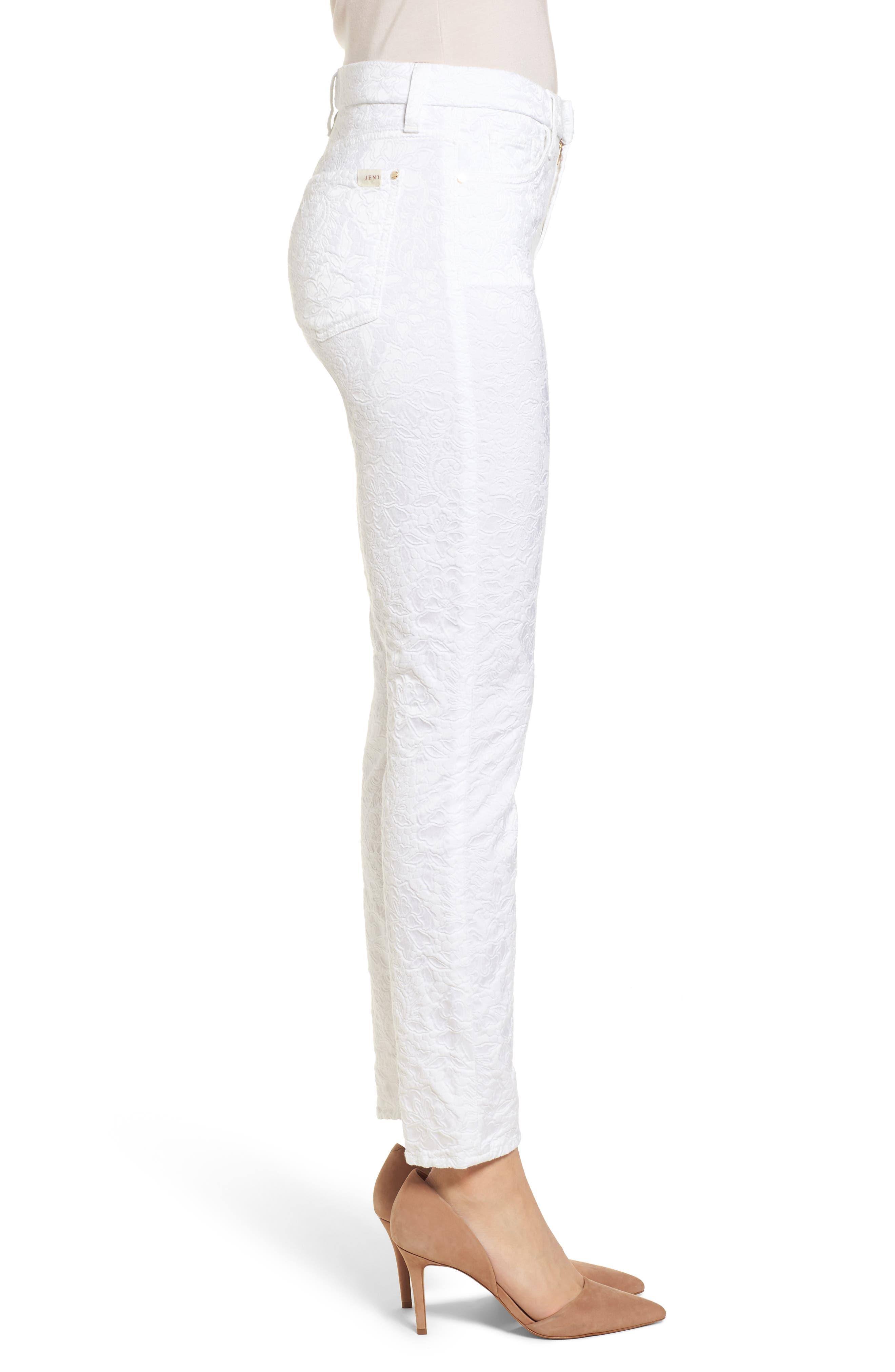 Jacquard Ankle Skinny Jeans,                             Alternate thumbnail 3, color,                             White