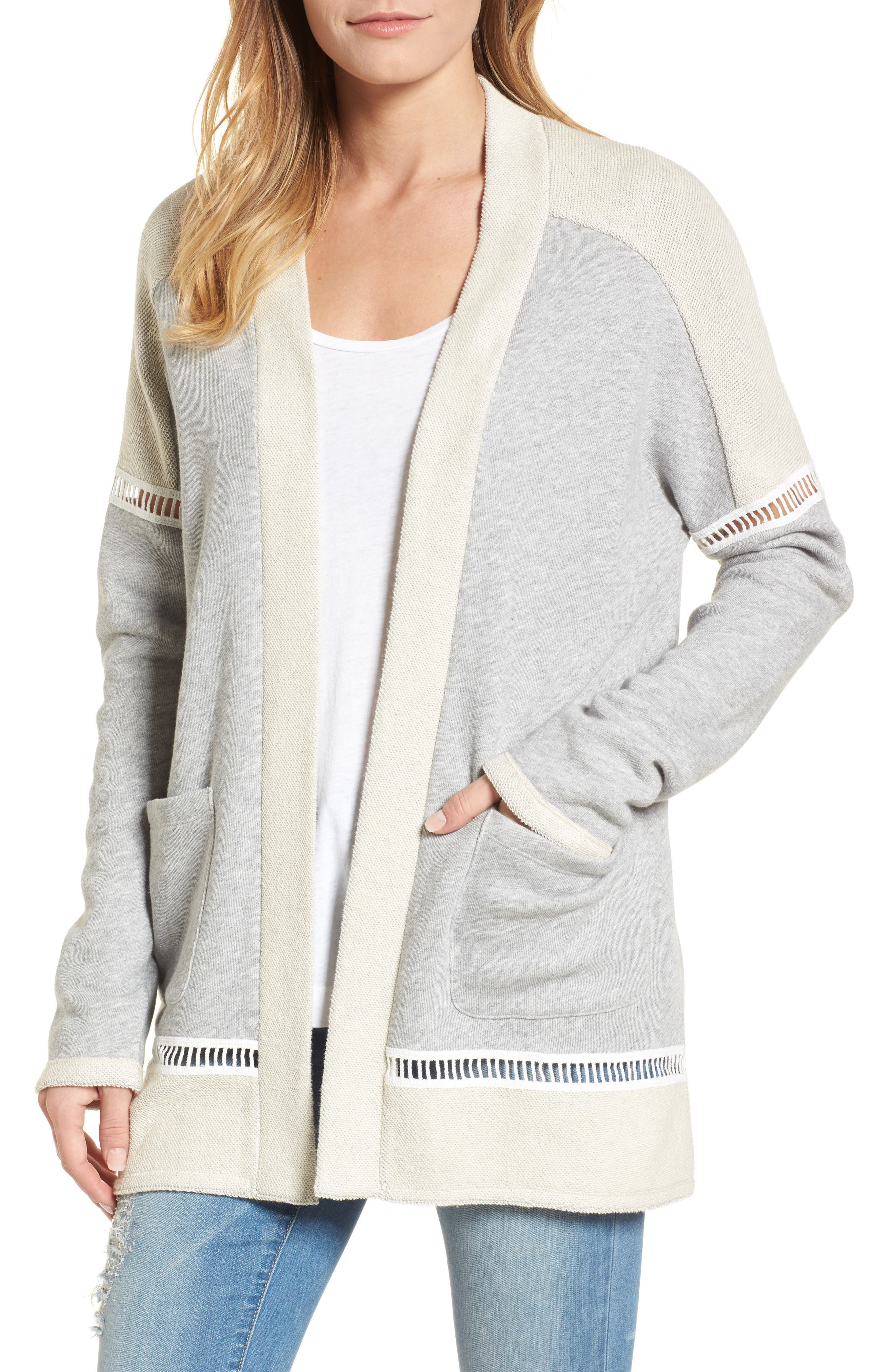 French Terry Open Front Cotton Cardigan,                             Main thumbnail 1, color,                             Grey Heather