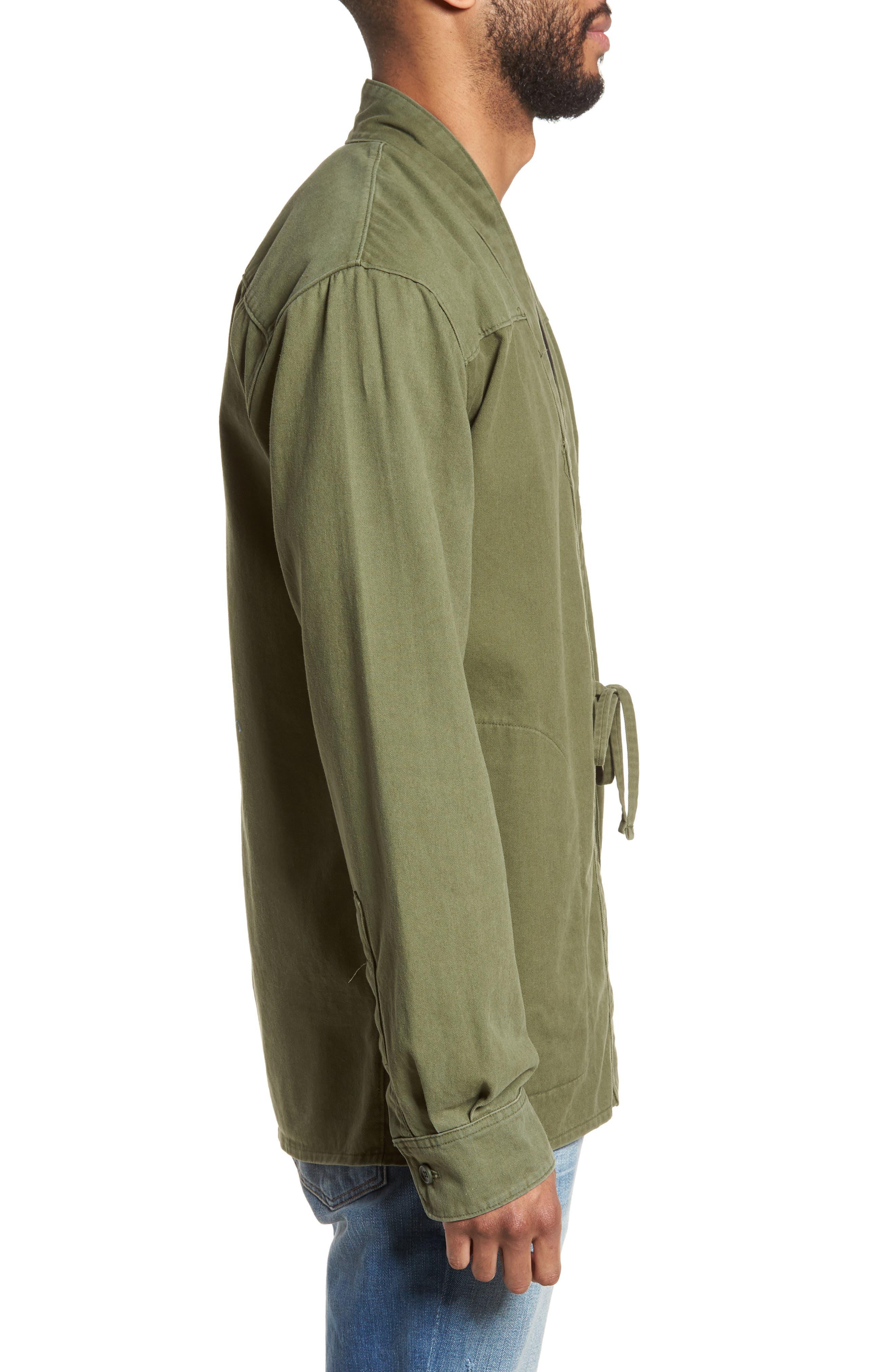 Woven Kimono Cardigan,                             Alternate thumbnail 3, color,                             Green Moss