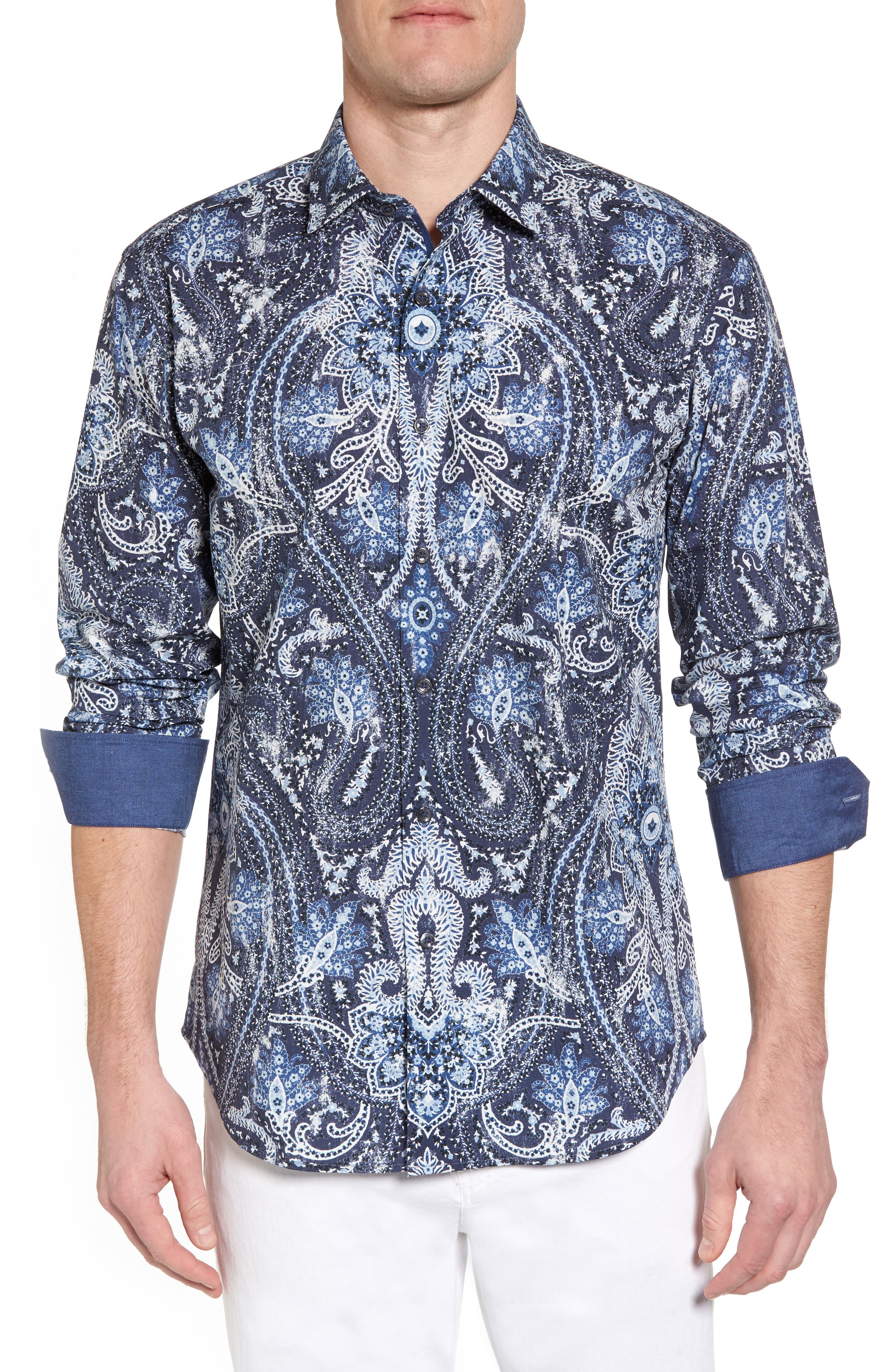 Shaped Fit Paisley Sport Shirt,                         Main,                         color, Midnight