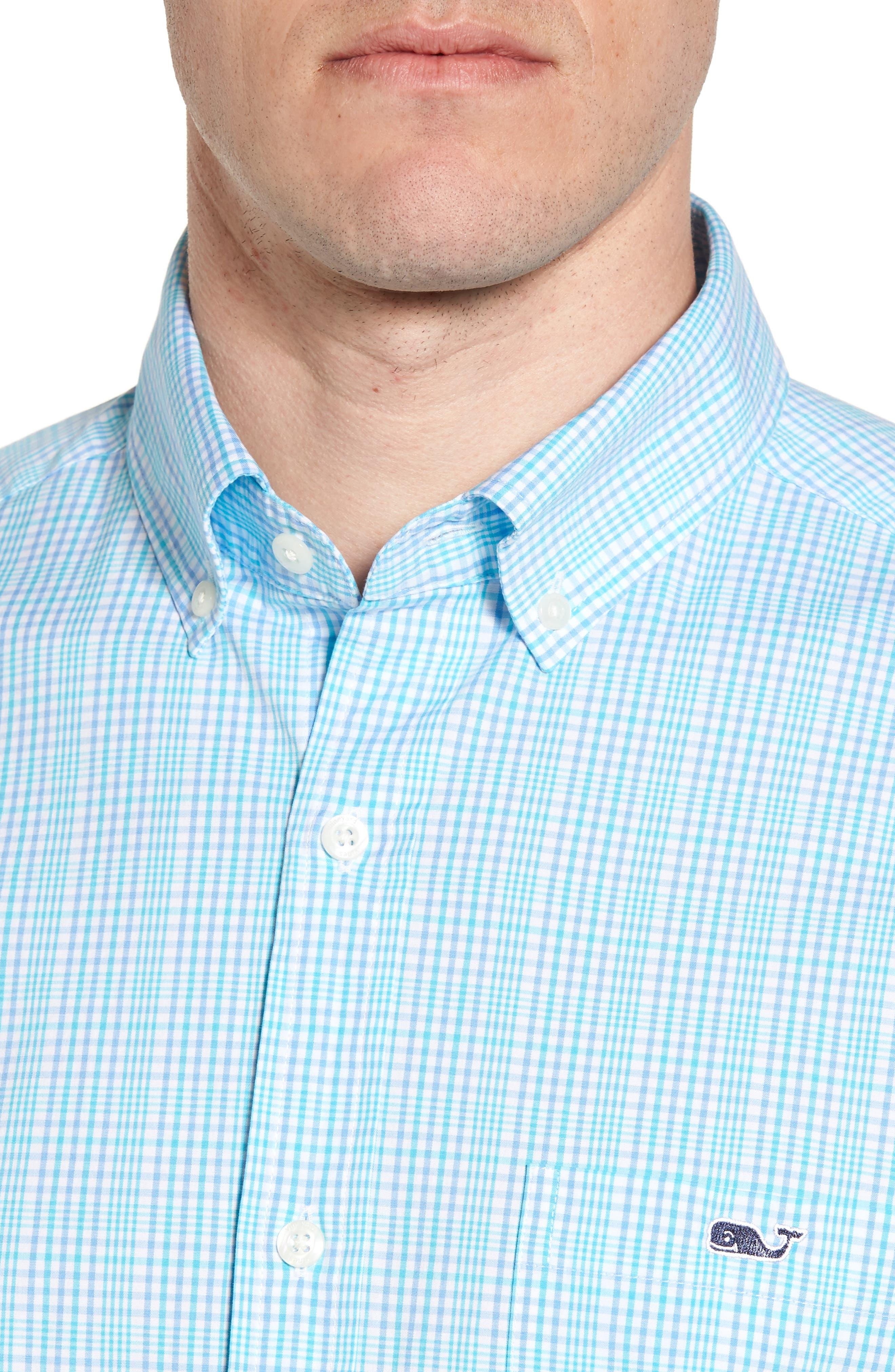 Rolling Harbor Classic Fit Plaid Sport Shirt,                             Alternate thumbnail 4, color,                             Turquoise