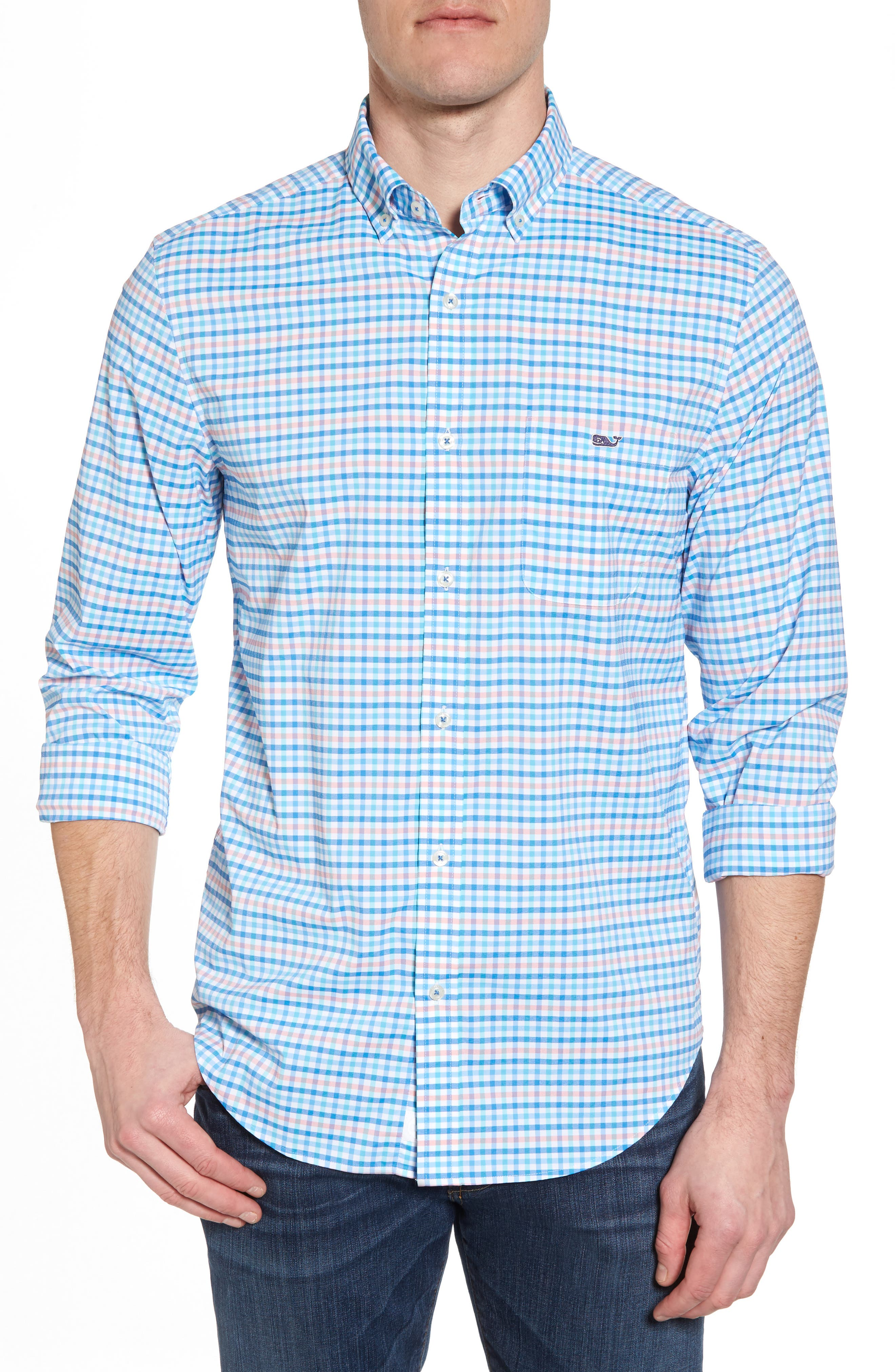 Coco Bay Classic Fit Check Performance Sport Shirt,                         Main,                         color, Ocean Breeze