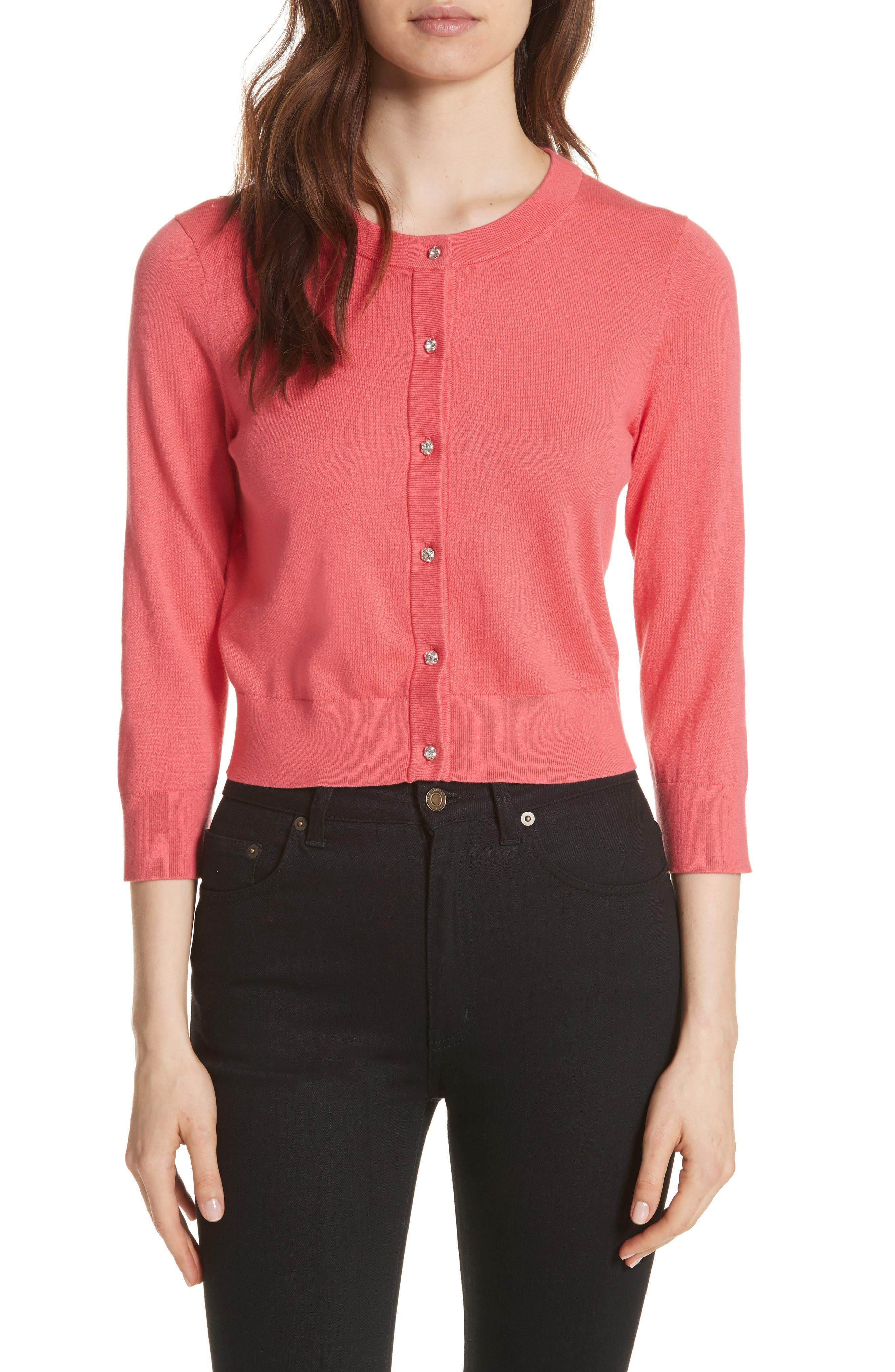 jewel button crop cardigan,                         Main,                         color, Peach Sherbet
