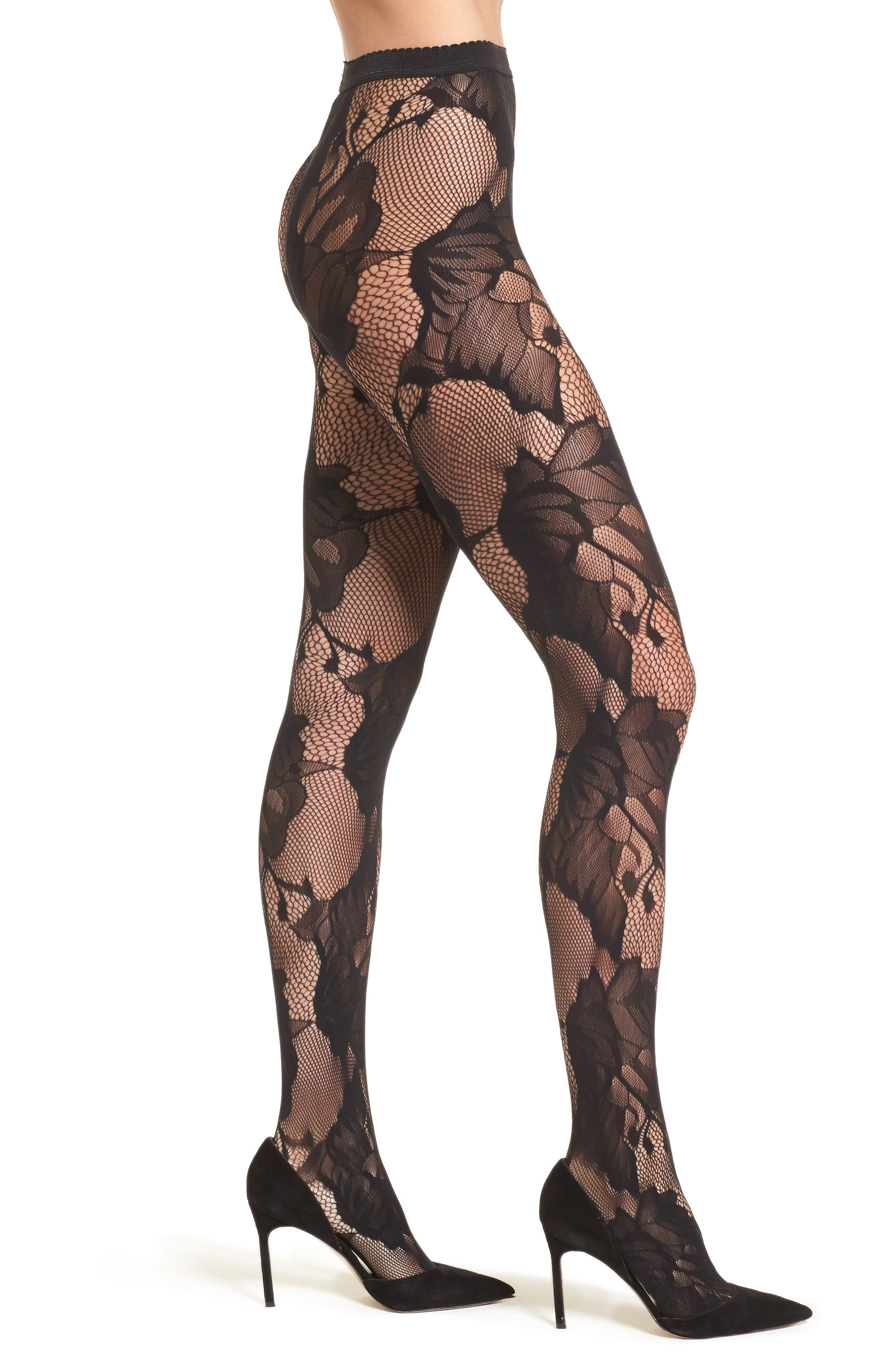 Pat Floral Lace Tights,                         Main,                         color, Black