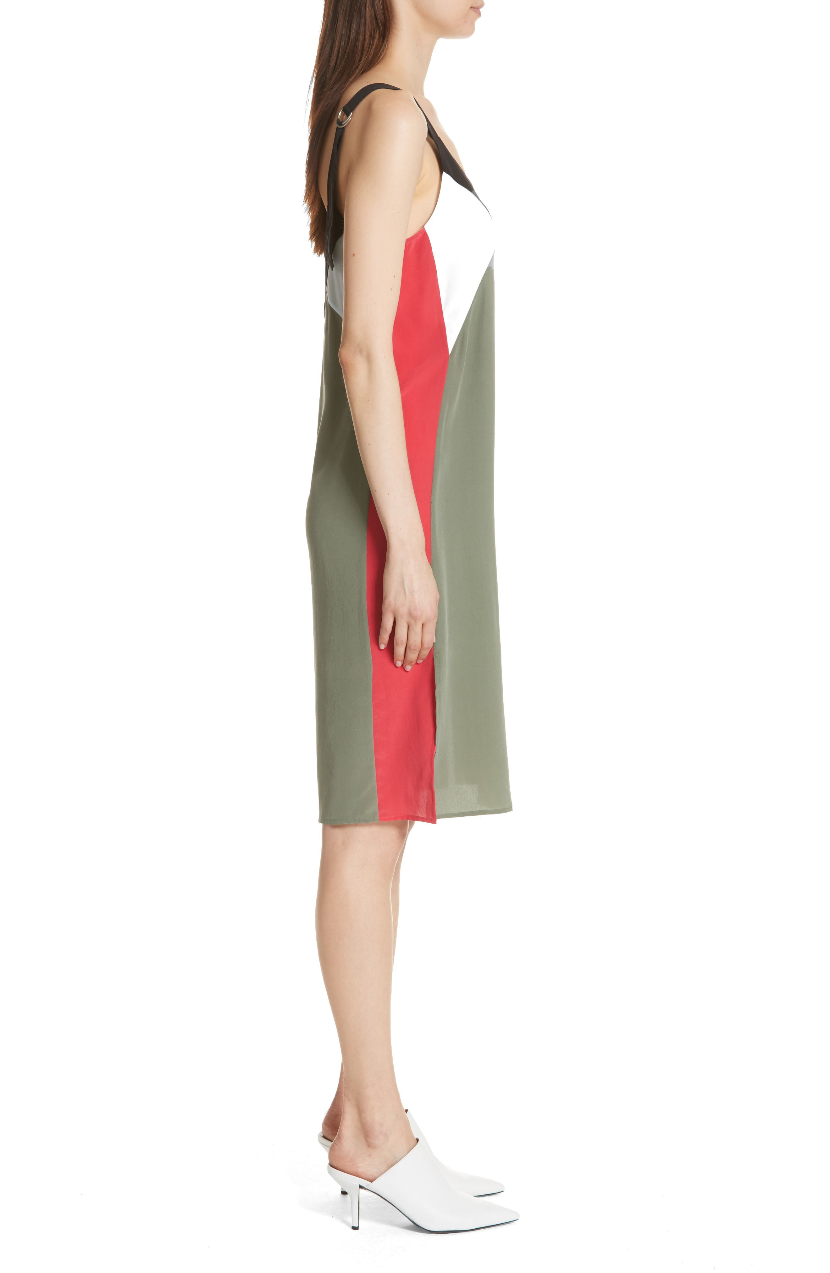 Robbi Colorblock Silk Slipdress,                             Alternate thumbnail 3, color,                             Camouflage