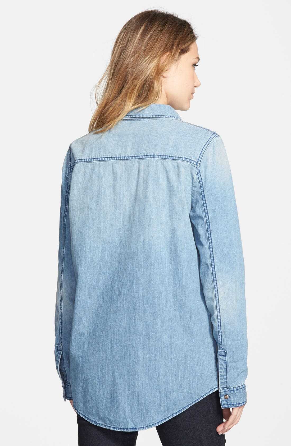 Chambray Boyfriend Shirt,                             Alternate thumbnail 3, color,                             Mystic Blue
