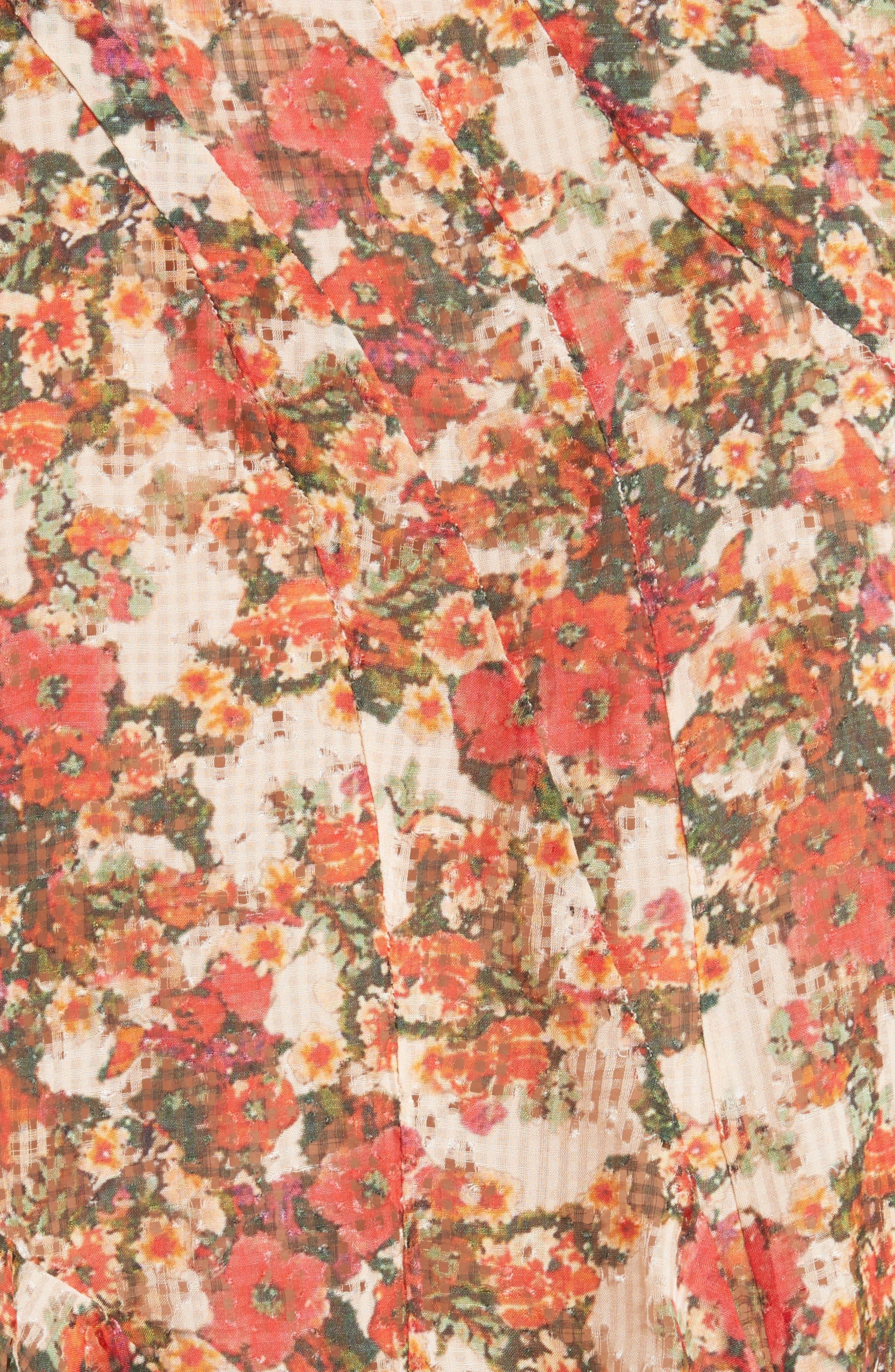 Fliren Ruffle Print Blouse,                             Alternate thumbnail 5, color,                             Red