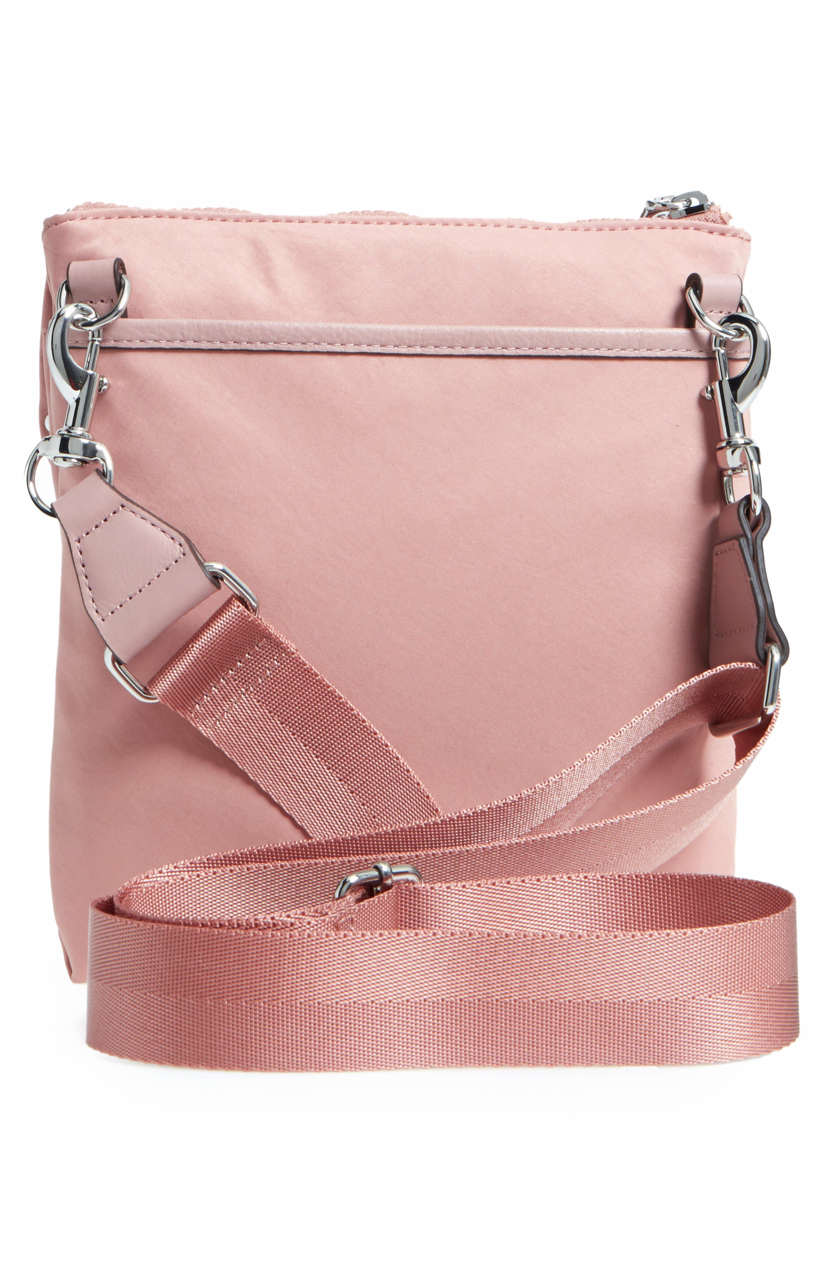 Nylon Flap Crossbody Bag,                             Alternate thumbnail 3, color,                             Vintage Pink