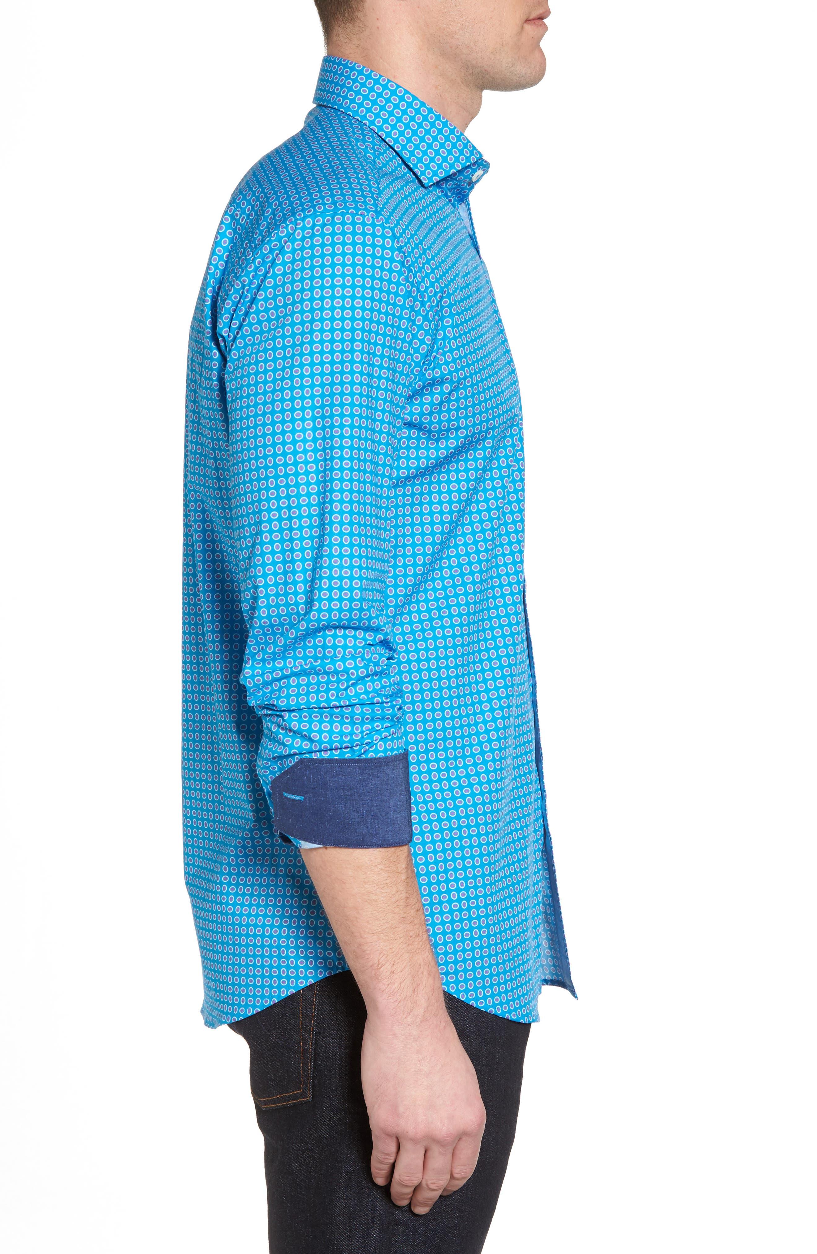 Woven Sport Shirt,                             Alternate thumbnail 3, color,                             Turquoise