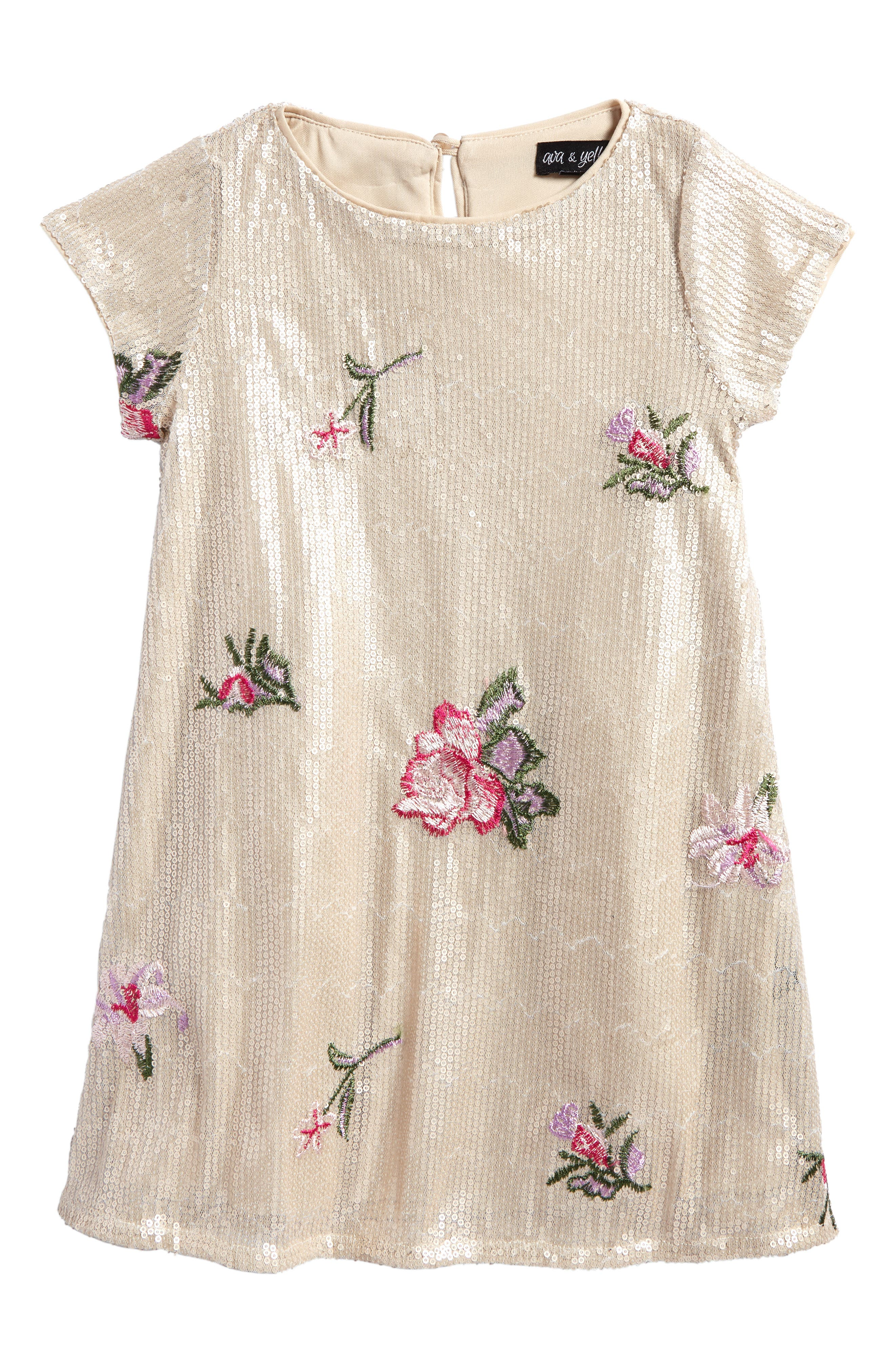 Embroidered Sequin Shift Dress,                         Main,                         color, Rose Gold