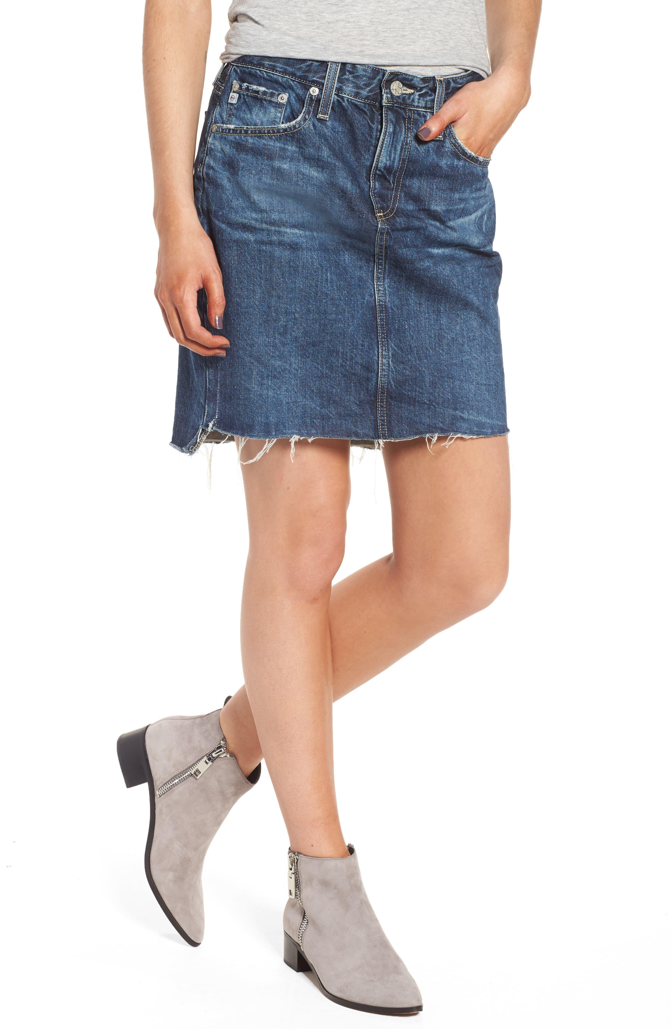 Erin Step Hem Denim Skirt,                         Main,                         color, 7 Years-Indigo Marble