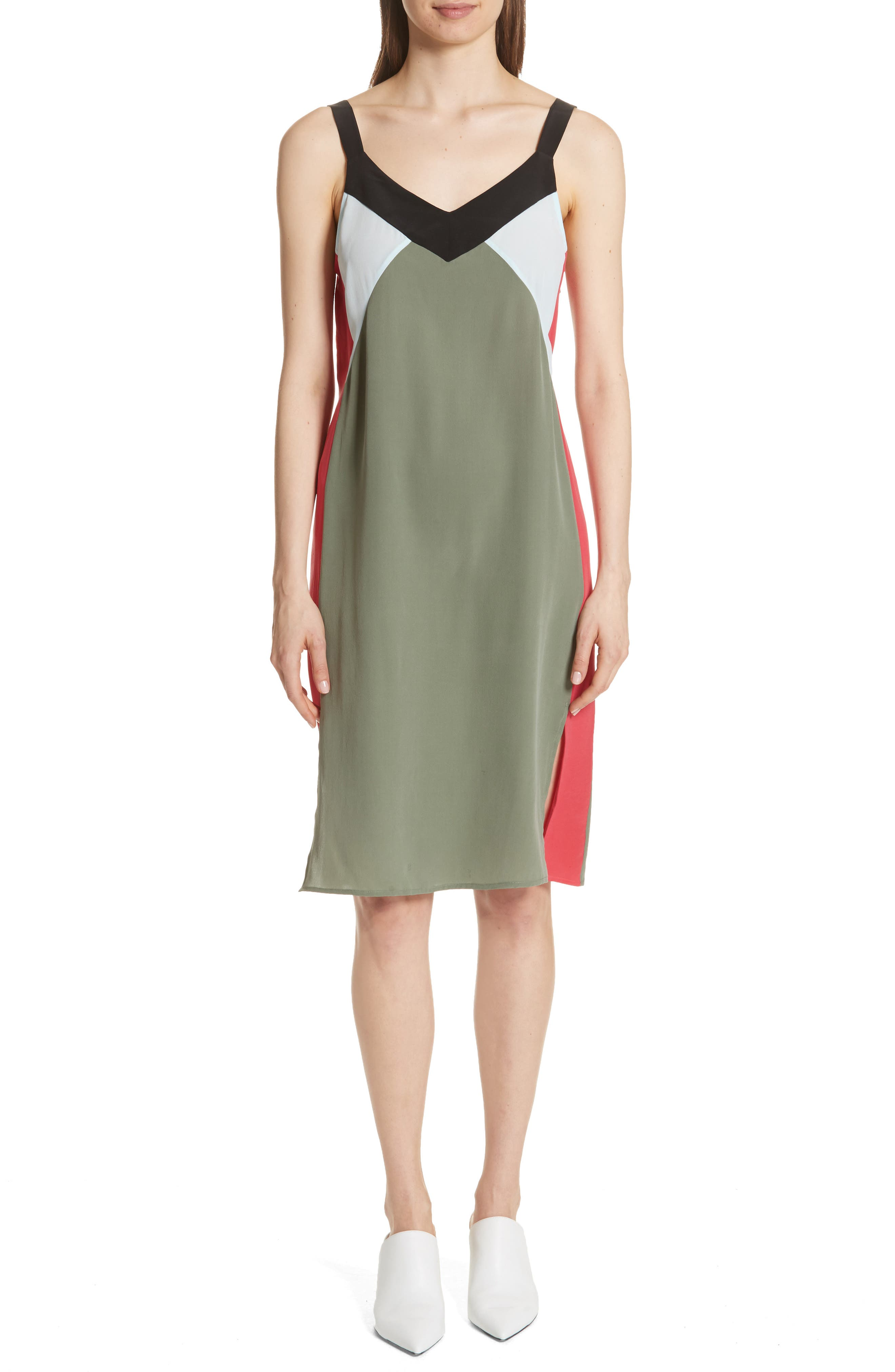Robbi Colorblock Silk Slipdress,                             Main thumbnail 1, color,                             Camouflage