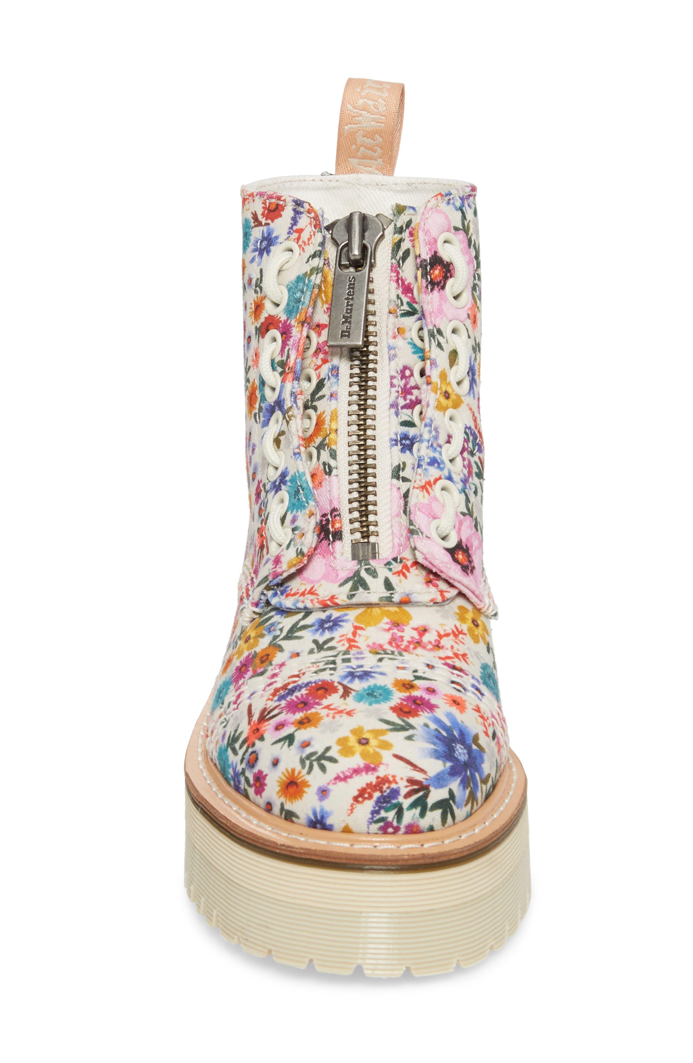 Sinclair Platform Boot,                             Alternate thumbnail 4, color,                             Bone/ Mallow Pink Canvas