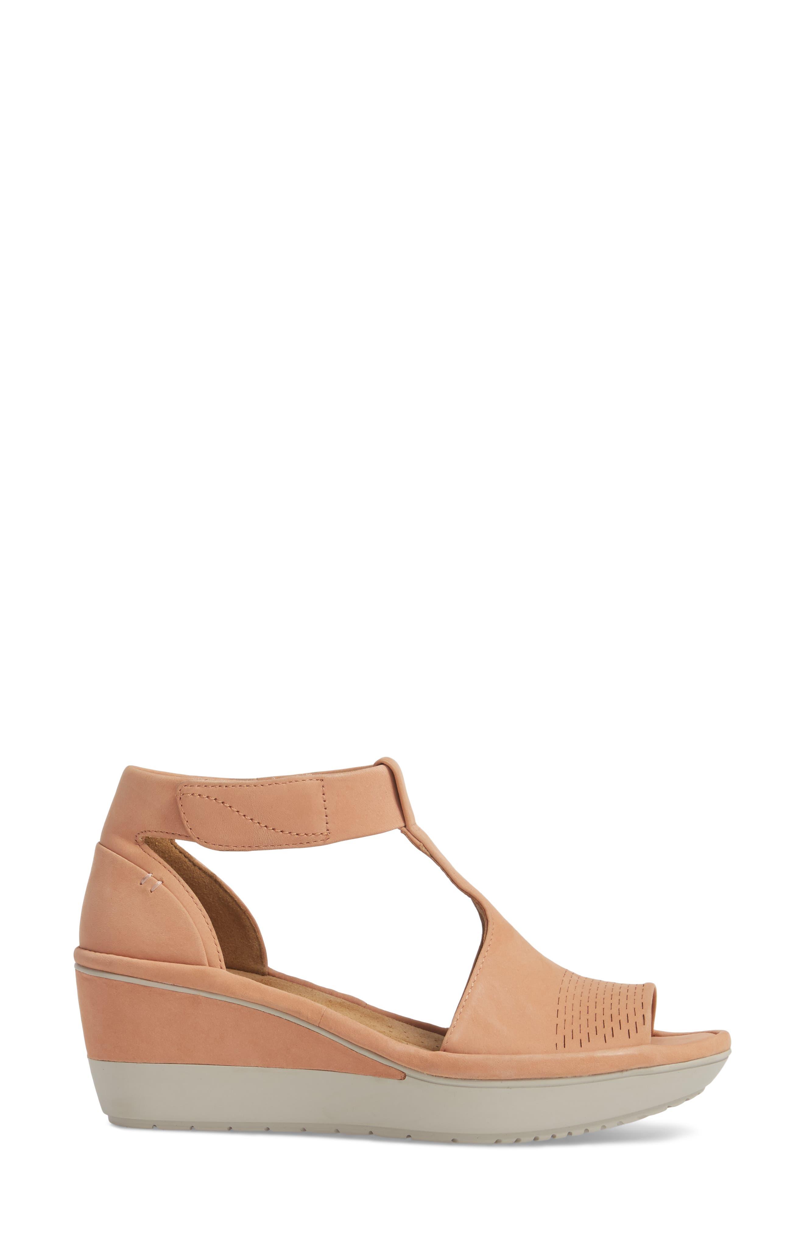 Wynnmere Avah T-Strap Wedge Sandal,                             Alternate thumbnail 3, color,                             Peach Nubuck
